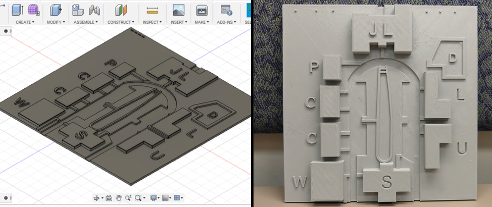 Left: 3D rendering created using Autodesk Fusion 360. Right: 3D printed map indicating general layout of buildings, roads, and sidewalks.
