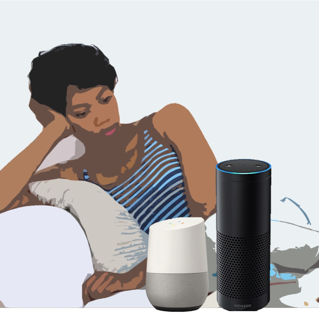 Amazon echo and Google home in use by a woman lounging on a couch