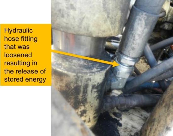 Hydraulic hose fitting on feed cylinder