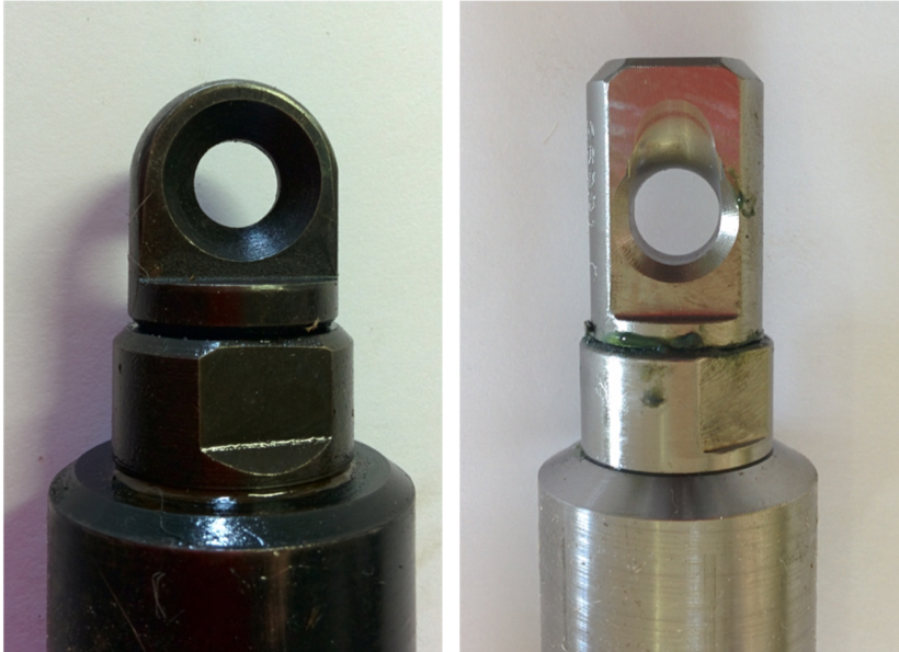 Cable swivel assemblies -note the machined eye in the assembly in the right-hand photograph.