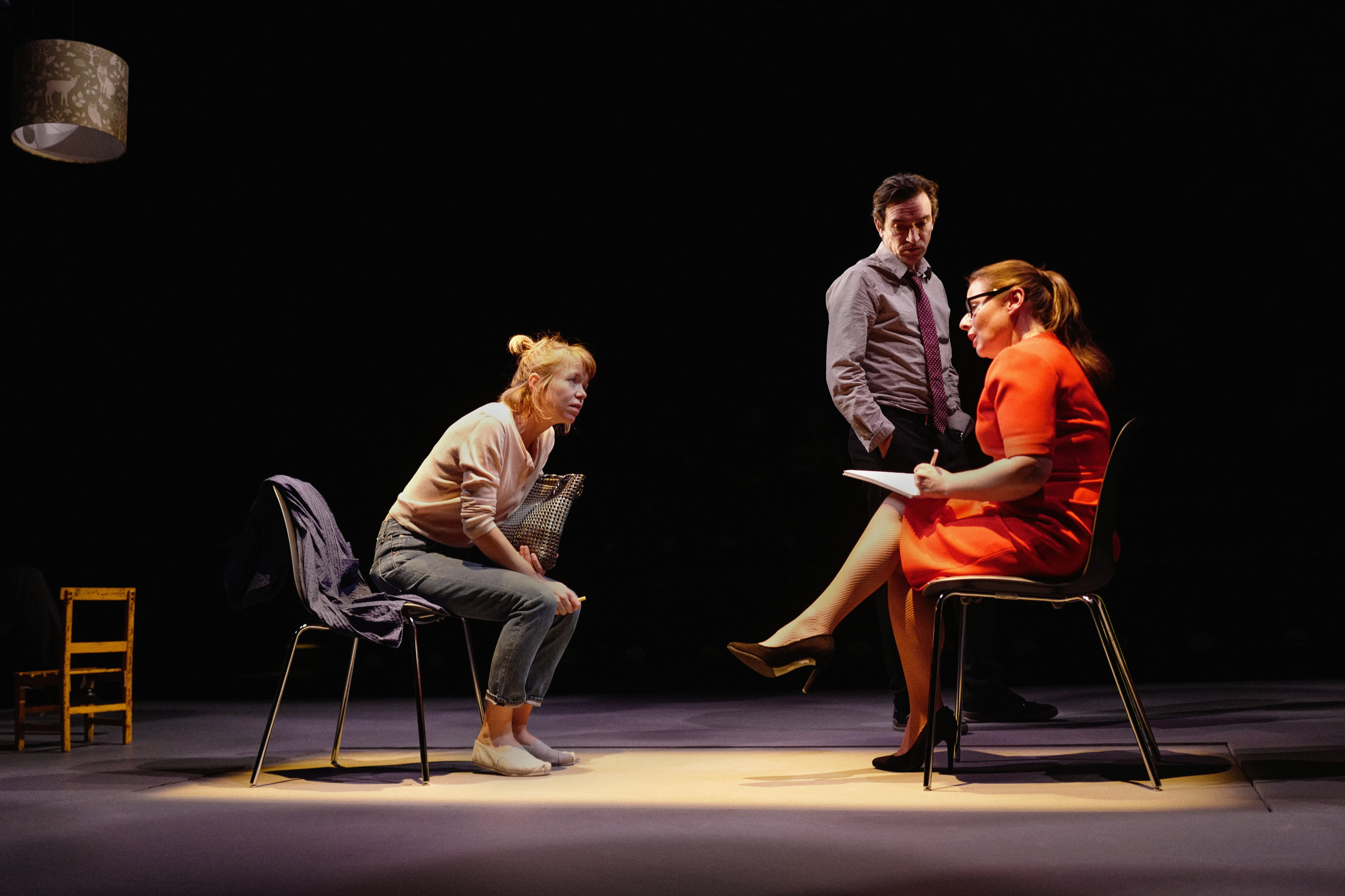 Anna Maxwell Martin (Kitty), Ben Chaplin (Ed) and Heather Craney (Laura) in a scene from  Consent  at the National Theatre. Photo: Sarah Lee