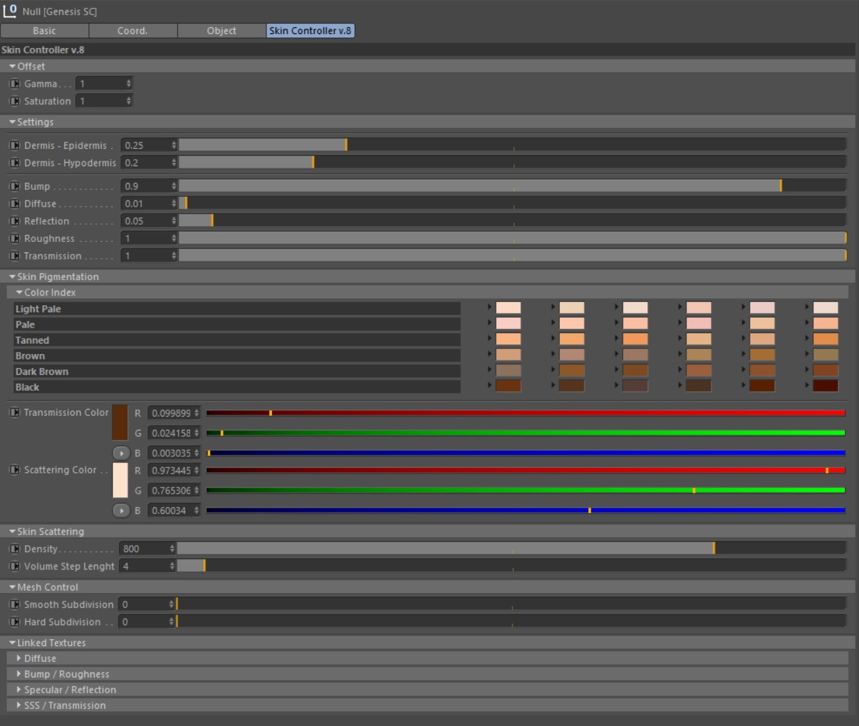 User Interface of the Genesis SC inside of Cinema4D