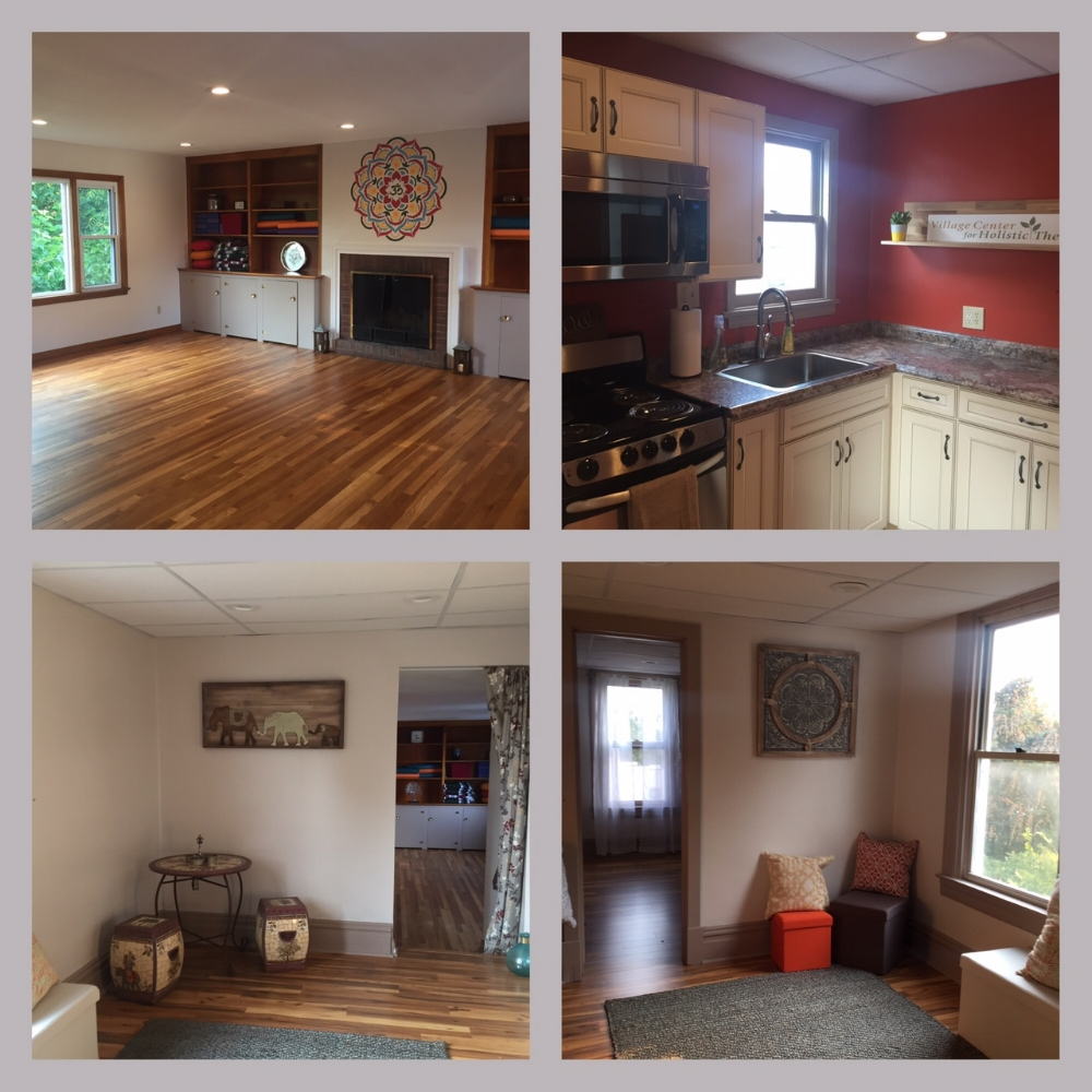 From top left clockwise - Yoga studio, kitchen space, waiting areas