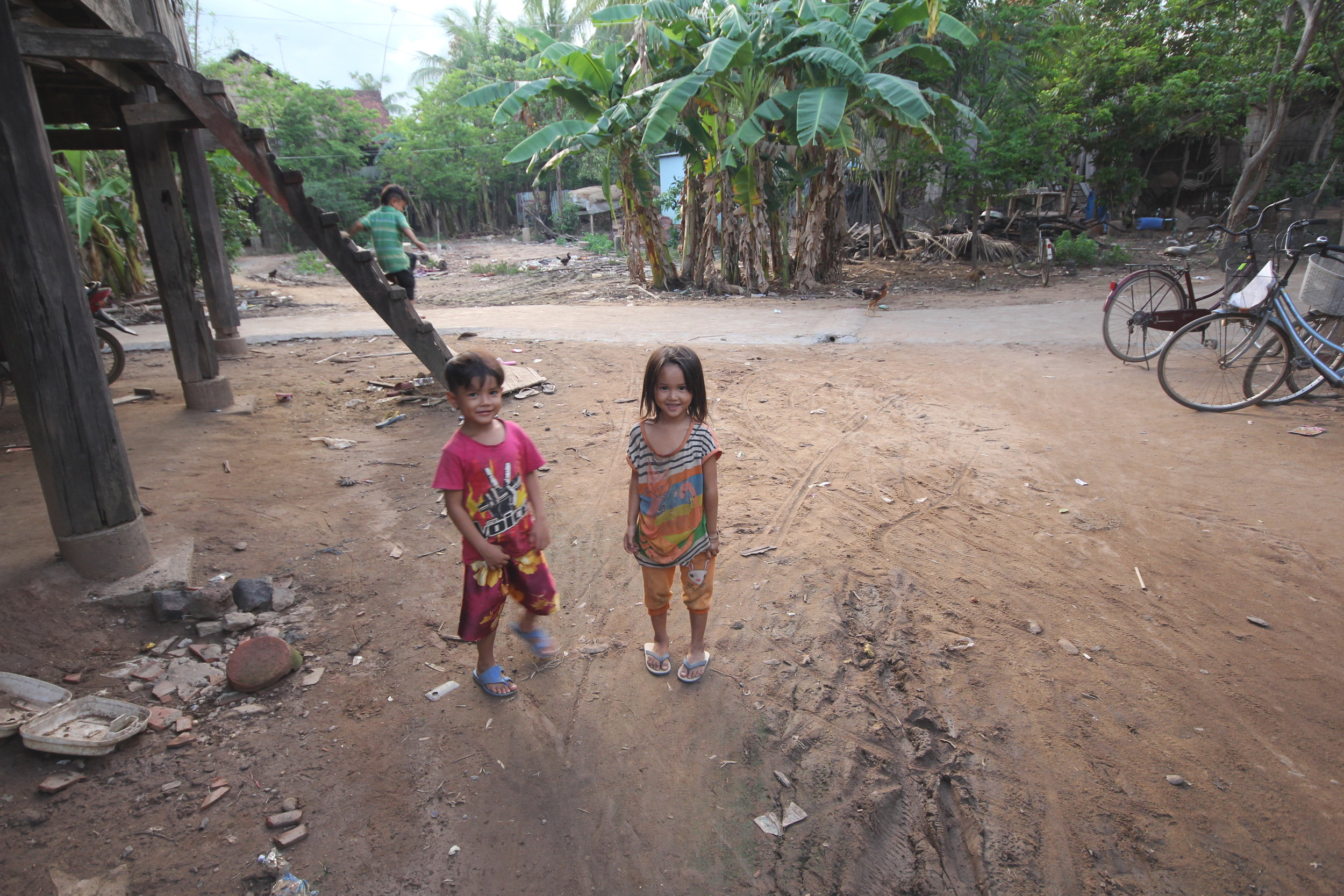 Children playing outside Spring of Hope School in Svay Khleang
