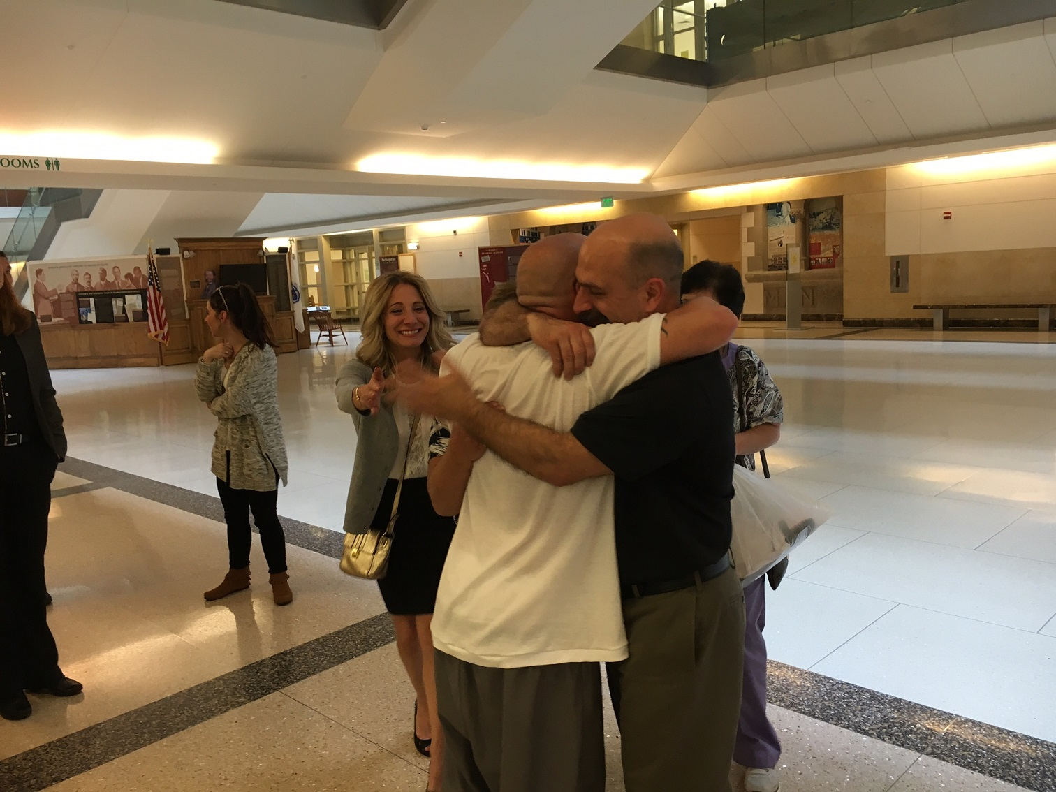 Nat Cosenza and family just after his release.