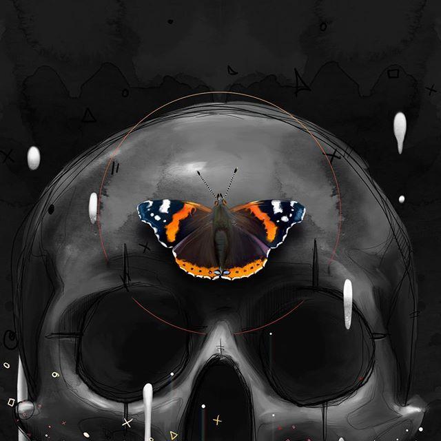 Detail of Out Of My Head. Love watercolour textures. Must use more.⠀ .⠀ .⠀ .⠀ .⠀ #art #mixedmediaart #myart #MadewithWacom #MrGo #drawing #digitalpainting #digitalart #digitalartist #color #contemporaryart #watercolour  #Cintiq #aotd #artistsofig #skullart  #skulldrawing #blackskull #artistsofinstagram #Urbanart #lipstick #artfido #lips #melting #love #digitalartwork #skulllove #butterflyart #fromupnorth #beautifulbizarre
