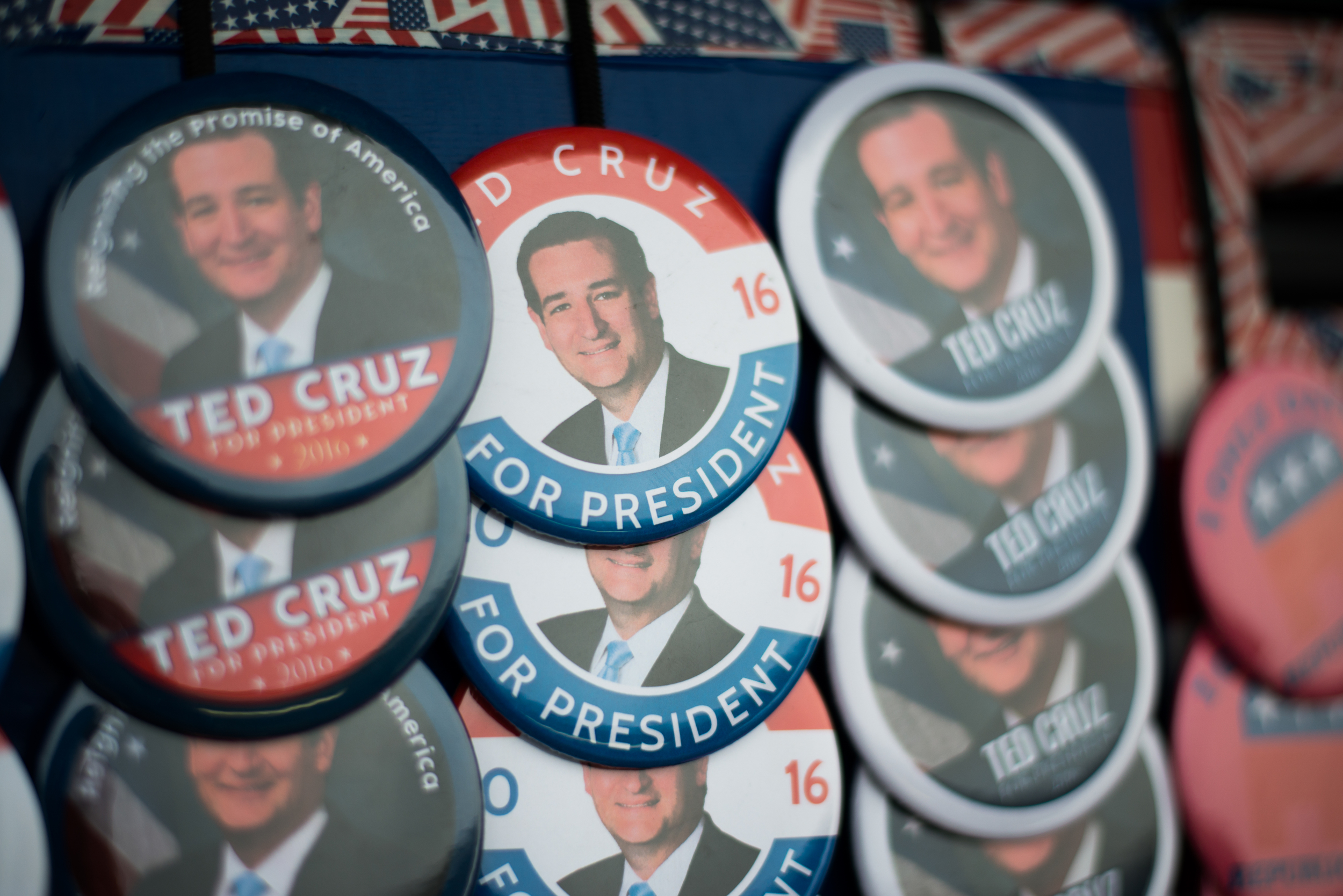 Ted Cruz-themed jacket pins being sold outside Tiger Den restaurant in Lenox, Iowa, on Nov. 28, 2015.