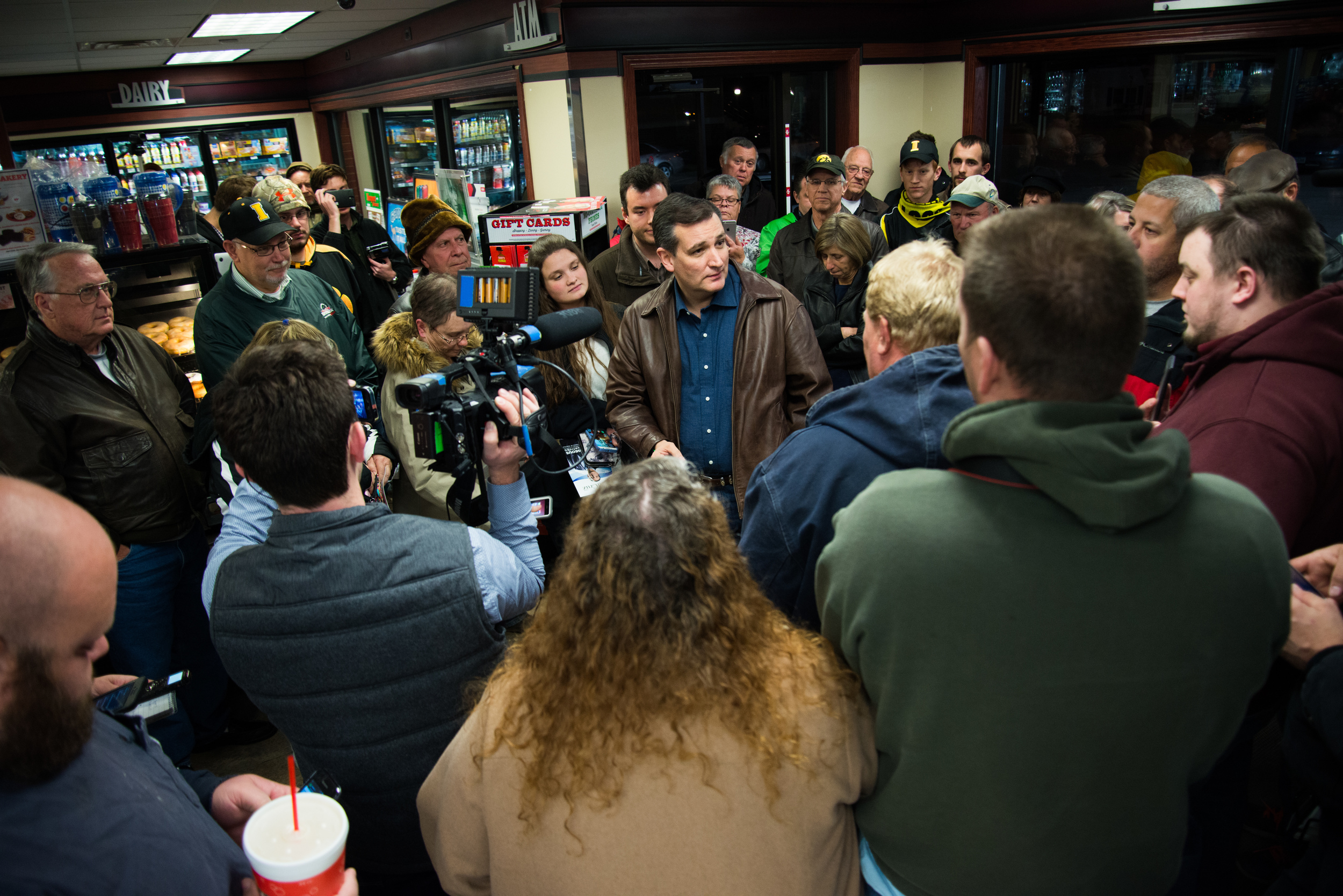 Republican presidential candidate Ted Cruz addresses voters during a campaign stop at Casey's General Store in Chariton, Iowa, on Nov. 28, 2015.