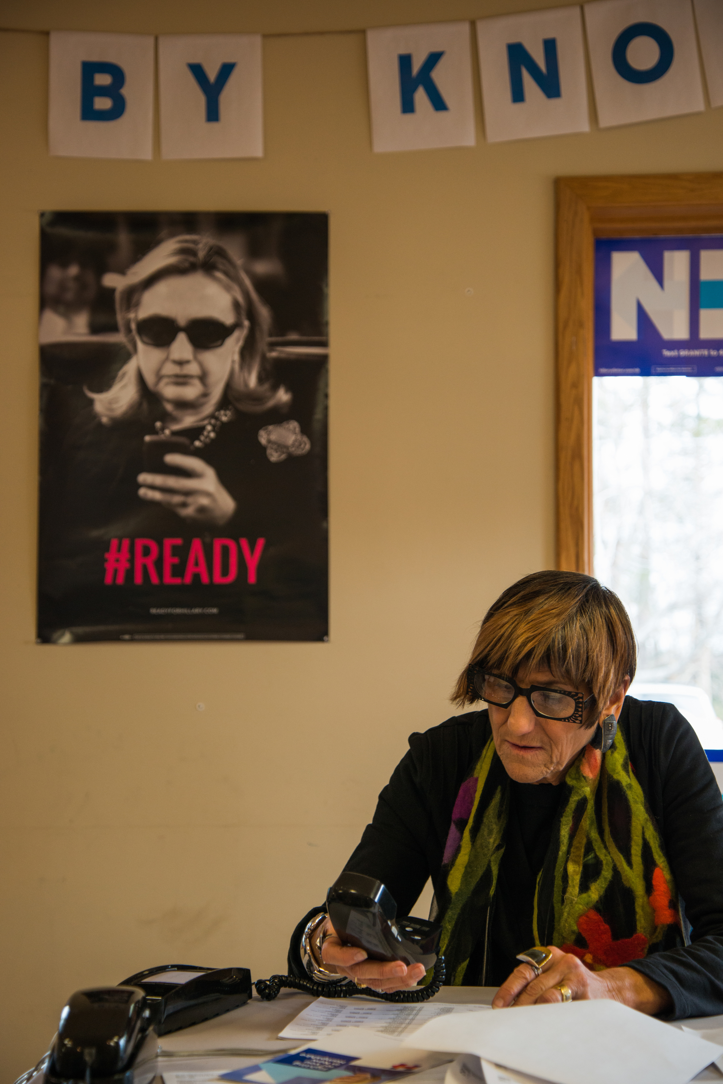 Rosa DeLauro, a Democratic representative of Connecticut, calls voters from presidential candidate Hillary Clinton's regional campaign office in Salem, New Hampshire, on Jan. 31, 2016.