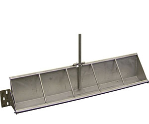 HOG WATERING TIP TROUGHS - Stainless steel hog watering troughs with four foot stainless steel pipe and auto-leveling control valve.