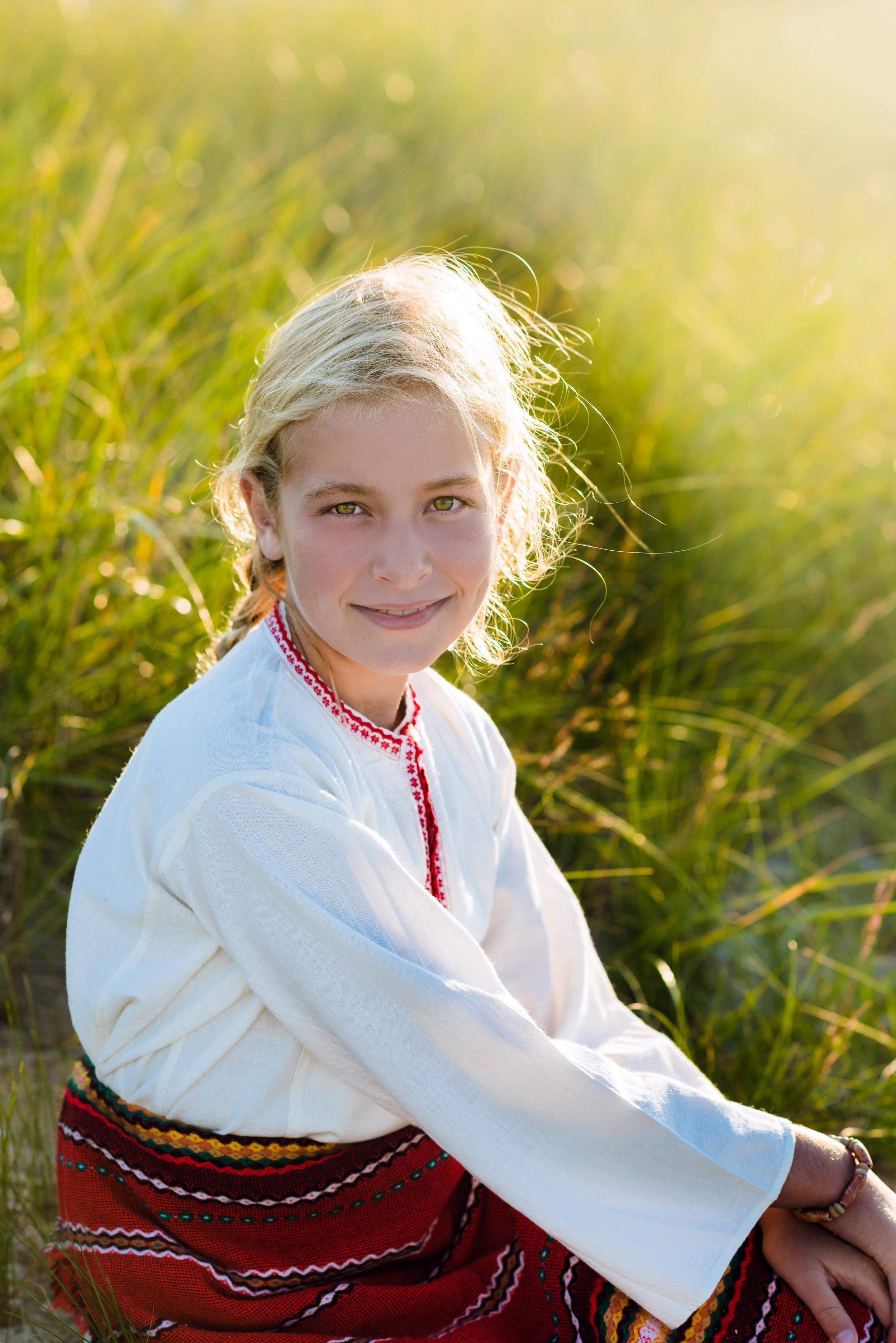 Lori wearing traditional Bulgarian costume