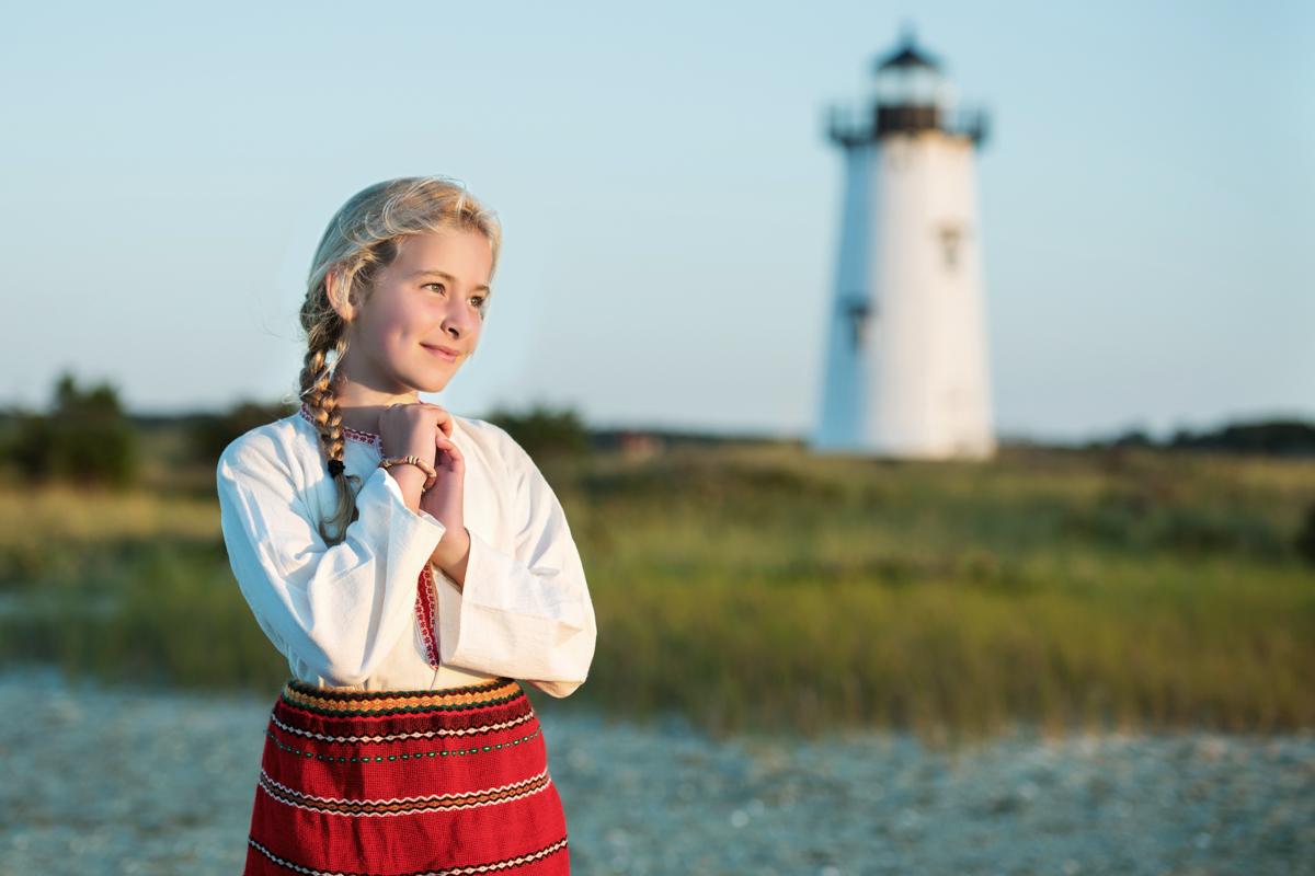 Lori near Edgartown Lighthouse