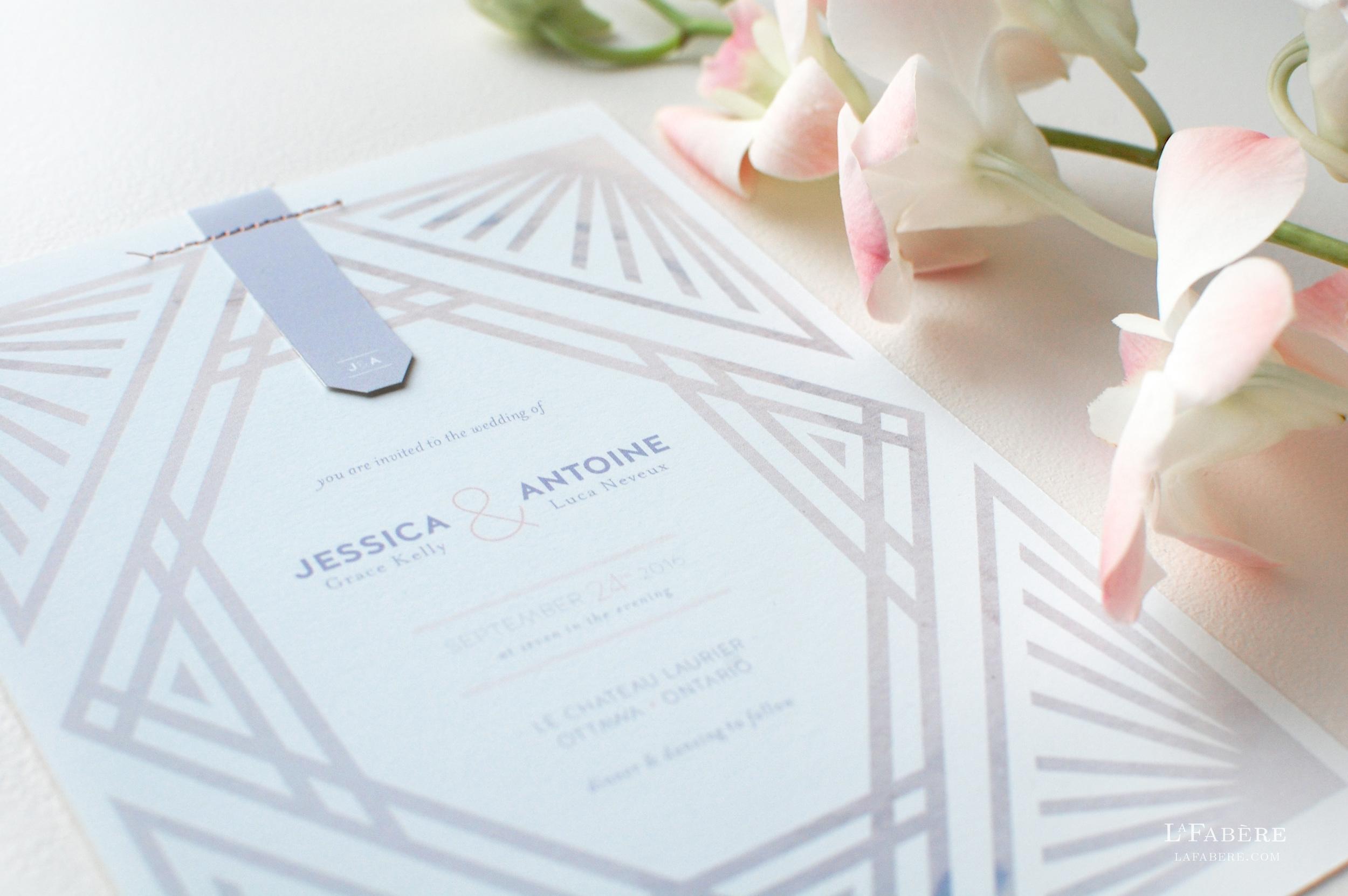 Art Deco wedding invitation design by LaFabère. lafabere.com