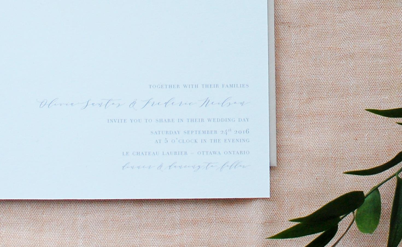 Minimalist & Classic wedding invitation design by LaFabère. lafabere.com