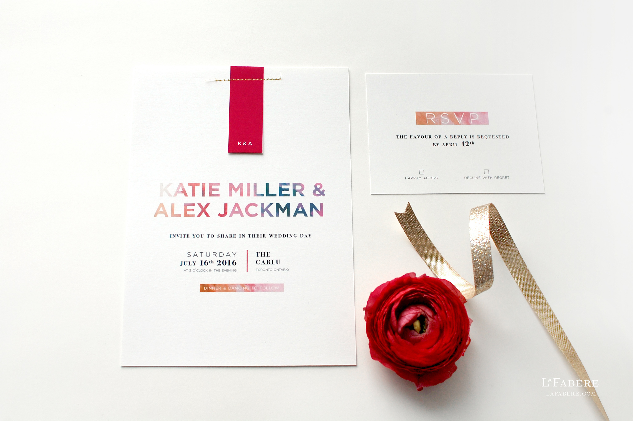Modern Floral wedding invitation design by LaFabère – lafabere.com