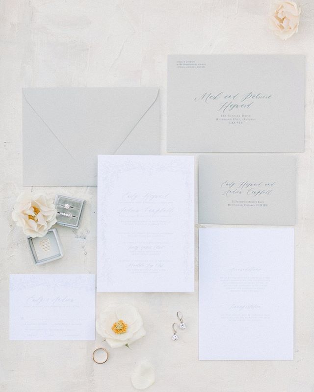 @whatemilysaid planned the most gorgeous and sentimental wedding, and it's featured on @stylemepretty today! ✨ I was so honoured to design these elegant wedding invitations for her and her hubby Andrew, definitely worth checking out their feature!  Photographer - Kayla Yestal - @kaylayestal Venue - Muskoka Bay Club - @muskokabayclub Planning and Coordination - Holly Matrimony - @hollymatrimony Videography - Up North Wedding Films - @upnorthweddingfilms Floral Design - Seasons in the Country Muskoka - @seasonsinthecountrymuskoka Dress Boutique - Avenue 22 Bridal - @avenue22bridal Wedding Dress - Enzoani - @enzoani Bridal Party Hair and Makeup - The Art of Makeup and Hair - @theartofmakeupandhair Hairpiece - Sarah Walsh Bridal - @sarahwalshbridal Bridesmaid Dresses - Jealous Bridesmaids and Dessy - @jealousbridesmaids @dessygroup Bride's Hair - Heather Ricker Hair - @heatherrickerhair Bride's Makeup - Anna Hayward - @annaehayward.mua Cake - Cakey Bakey Boutique - @cakeybakeyboutique Decor - Muskoka Party Rentals - @muskokapartyrentals Invitations and Paper Details - LaFabere - @lafabere Rings - Ron Henry Jewellers - @ron_henry_jewellers Suits - Indochino - @indochino Perfume - Jo Malone - @jomalonelondon Shoes - Badgley Mischka - @badgleymischka Earrings - Kate Spade - @katespadeny Ring Box - The Mrs Box - @the_mrs_box DJ - Spectrum Agency - @spectrum_to  #elegantwedding #classicwedding #whitewedding #fineartwedding #bespoke #muskoka #muskokawedding #calligraphy #floralinvitation #handdrawninvitations #invitations #luxuryinvitations #stylemeprettyweddings #stylemeprettybride