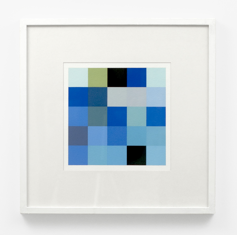 "Untitled (Blues)  , 2013  Gouache on paper  10 x 10"" (25 x 25 cm)  Framed: 21 x 21"" (53 x 53 cm)"