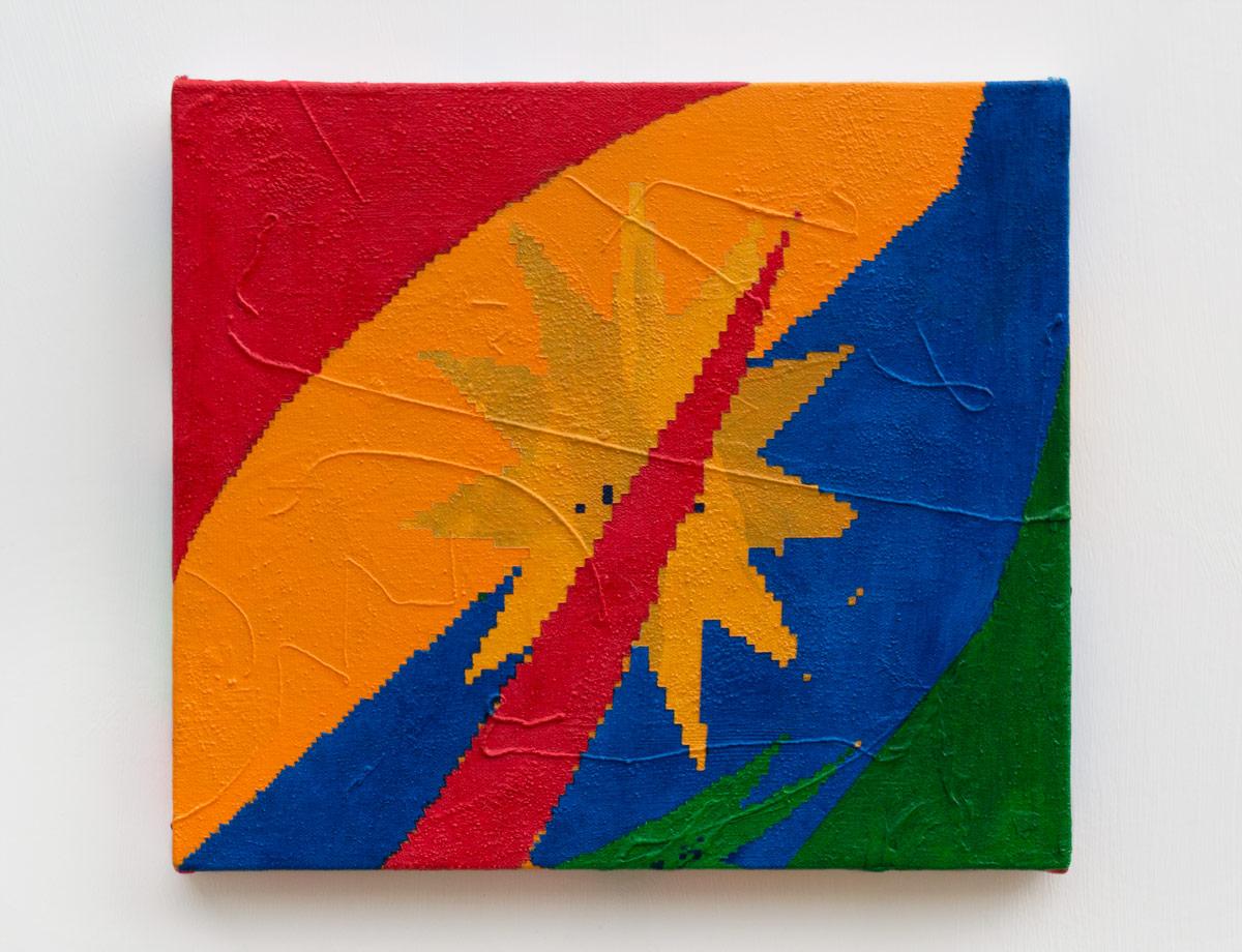 """1848  , 2017  Acrylic, sand, and thread on canvas  10.5 x 12"""" (27 x 30 cm)"""