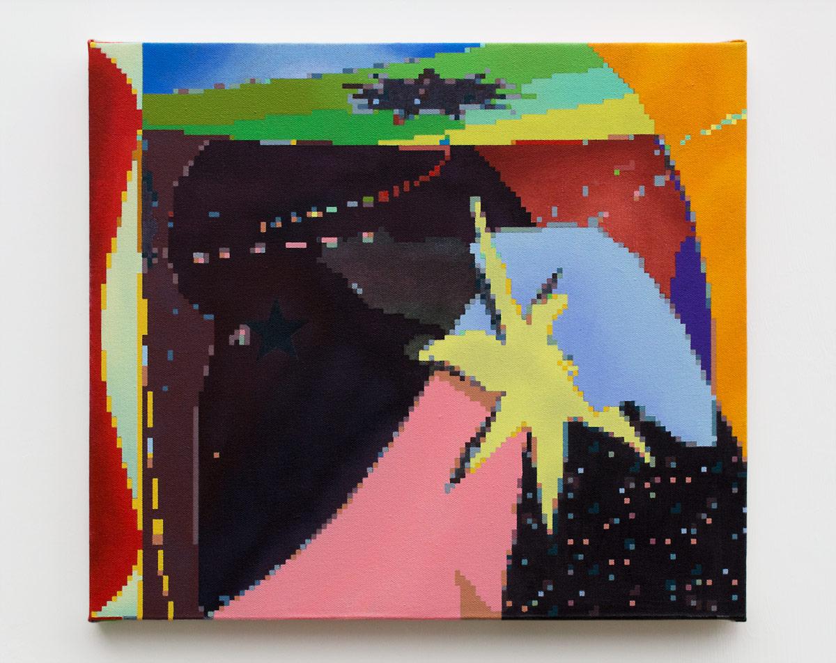 "Mystic Speculation  , 2018  Acrylic on canvas  14 x 16"" (36 x 41 cm)"