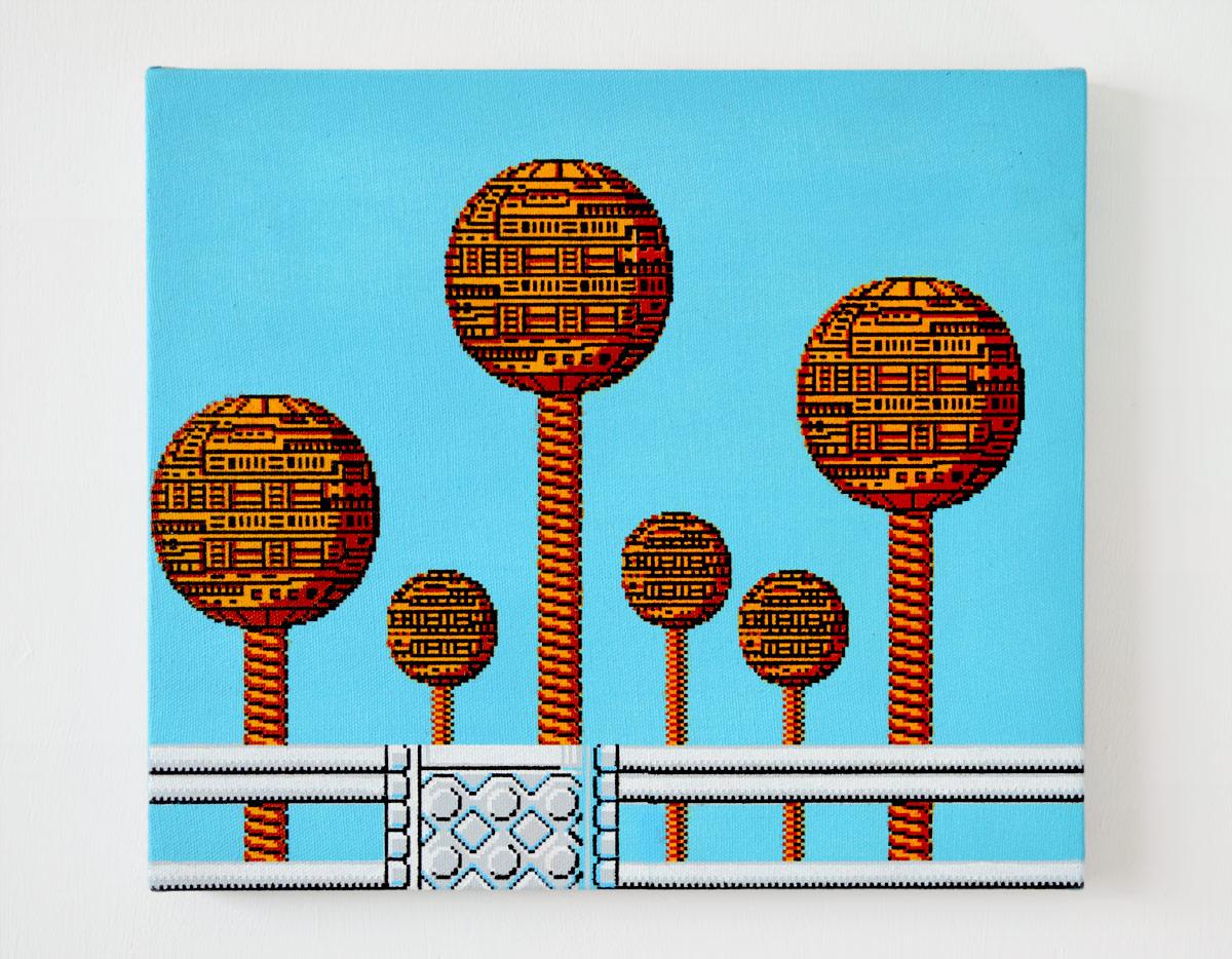 """Towers  , 2016  Acrylic on canvas  10.5 x 12"""" (27 x 30 cm)"""
