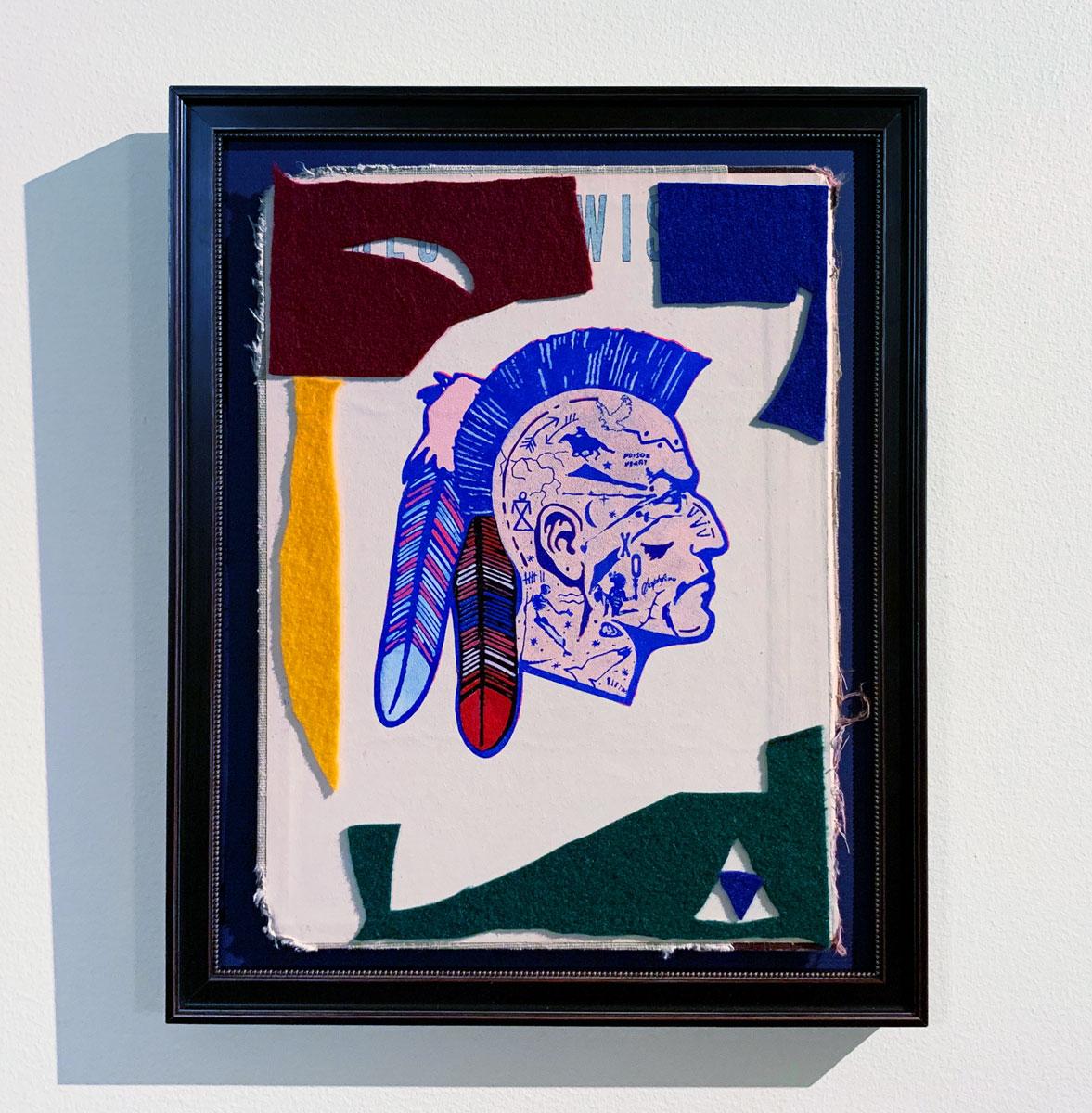 """Untitled  , 2019  Acrylic, gouache, and felt on book cover  11 x 14"""" (28 x 36 cm)"""