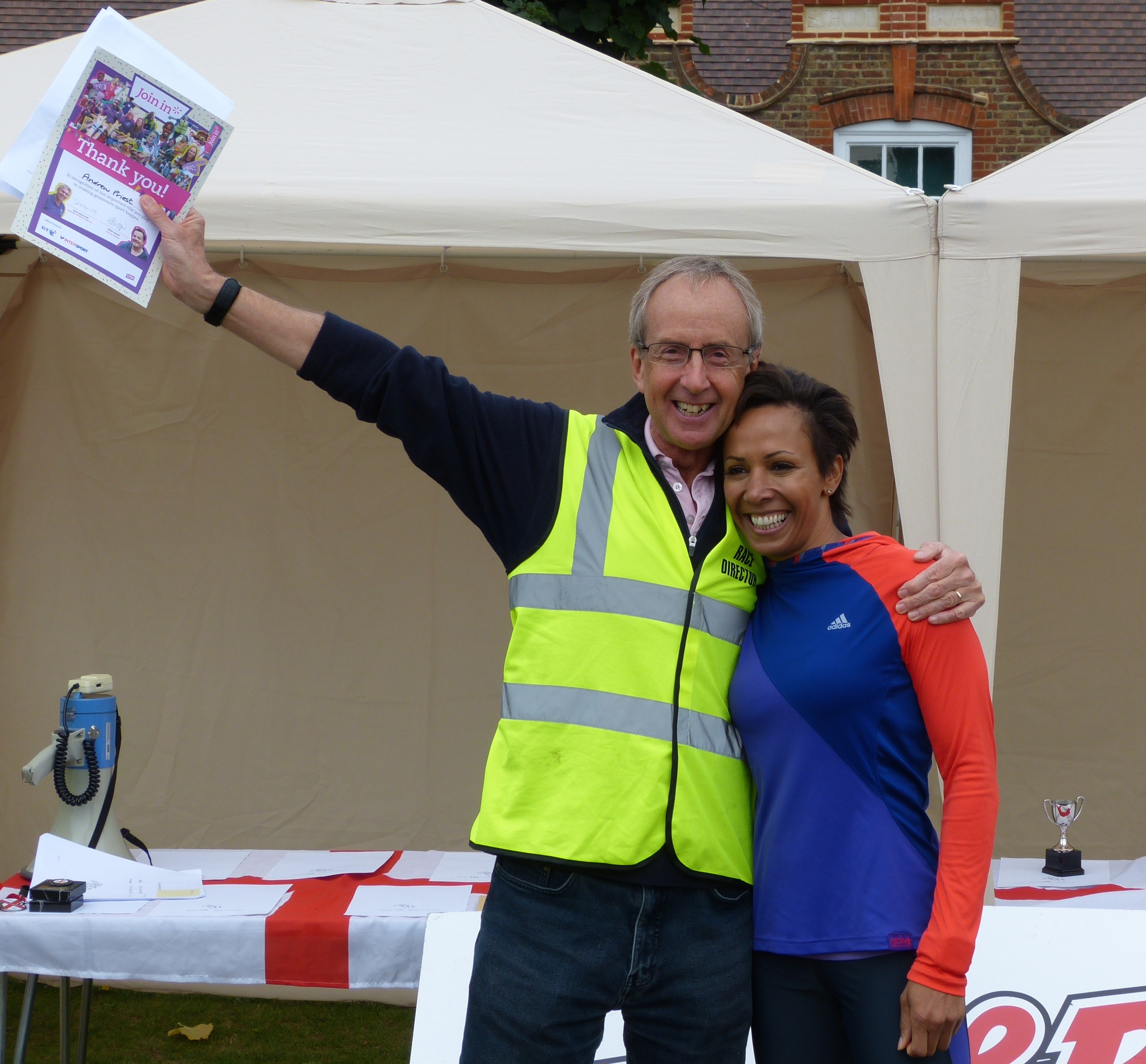 Dame Kelly Holmes with 2015 race organiser Andrew Priest