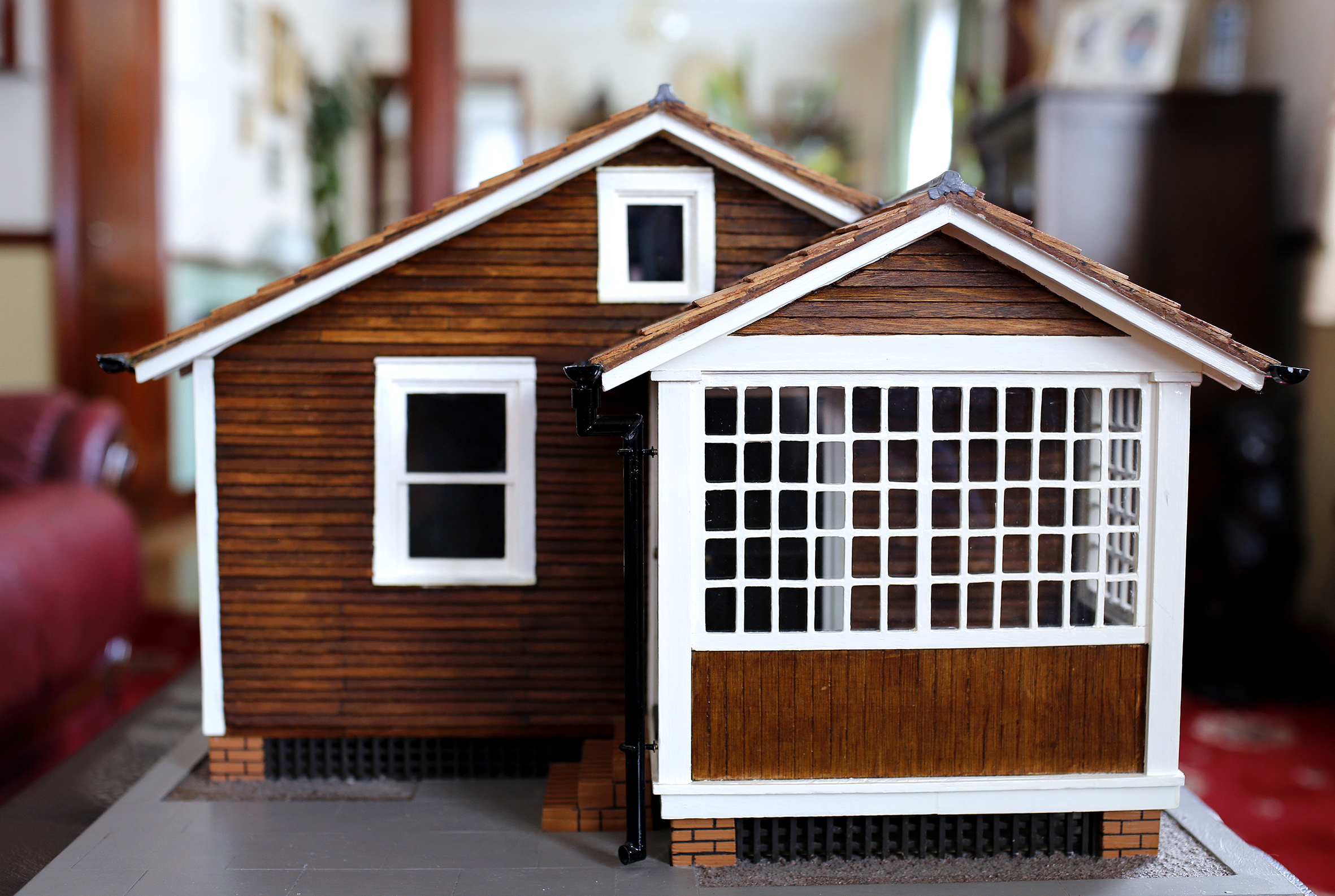 Model of an Austin Village home by resident Harry Blondell. Photograph by Stephen Burke.