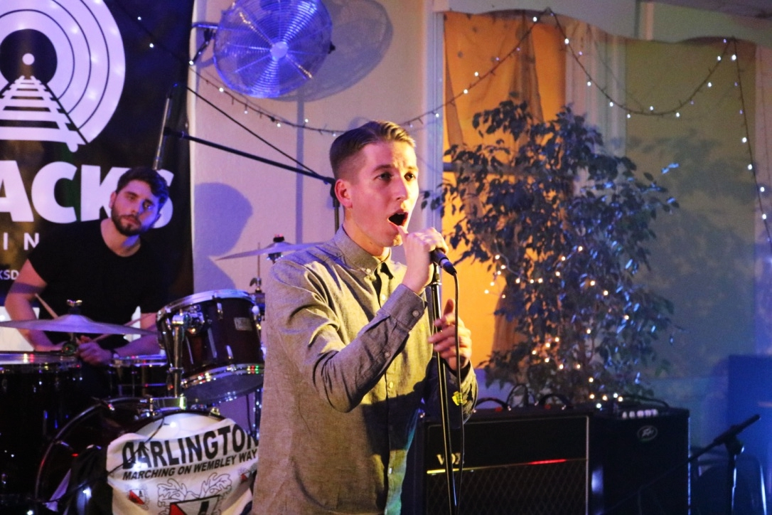 Liam being the perfect frontman at the Tracks Launch in Darlington
