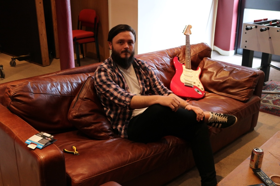Craig on the comfy couch at Blast.