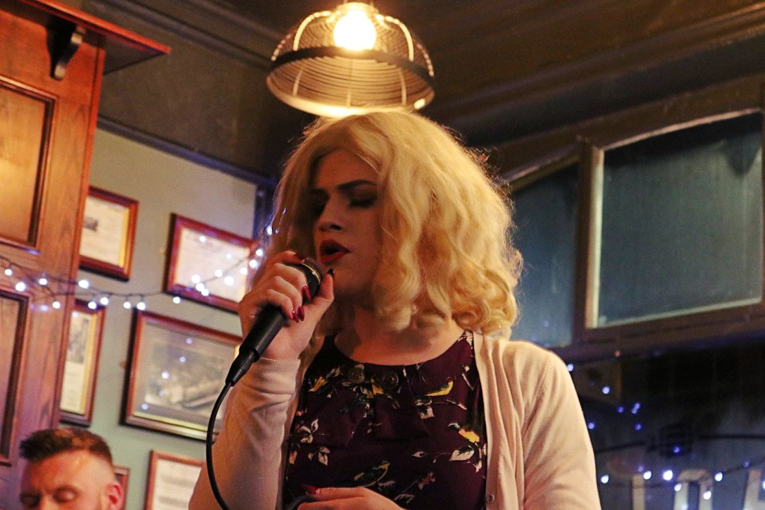 A different Velvoir performing during a special acoustic  Soapbox Session  held in the  Hole in the Wall  in Darlington on 5 February 2017