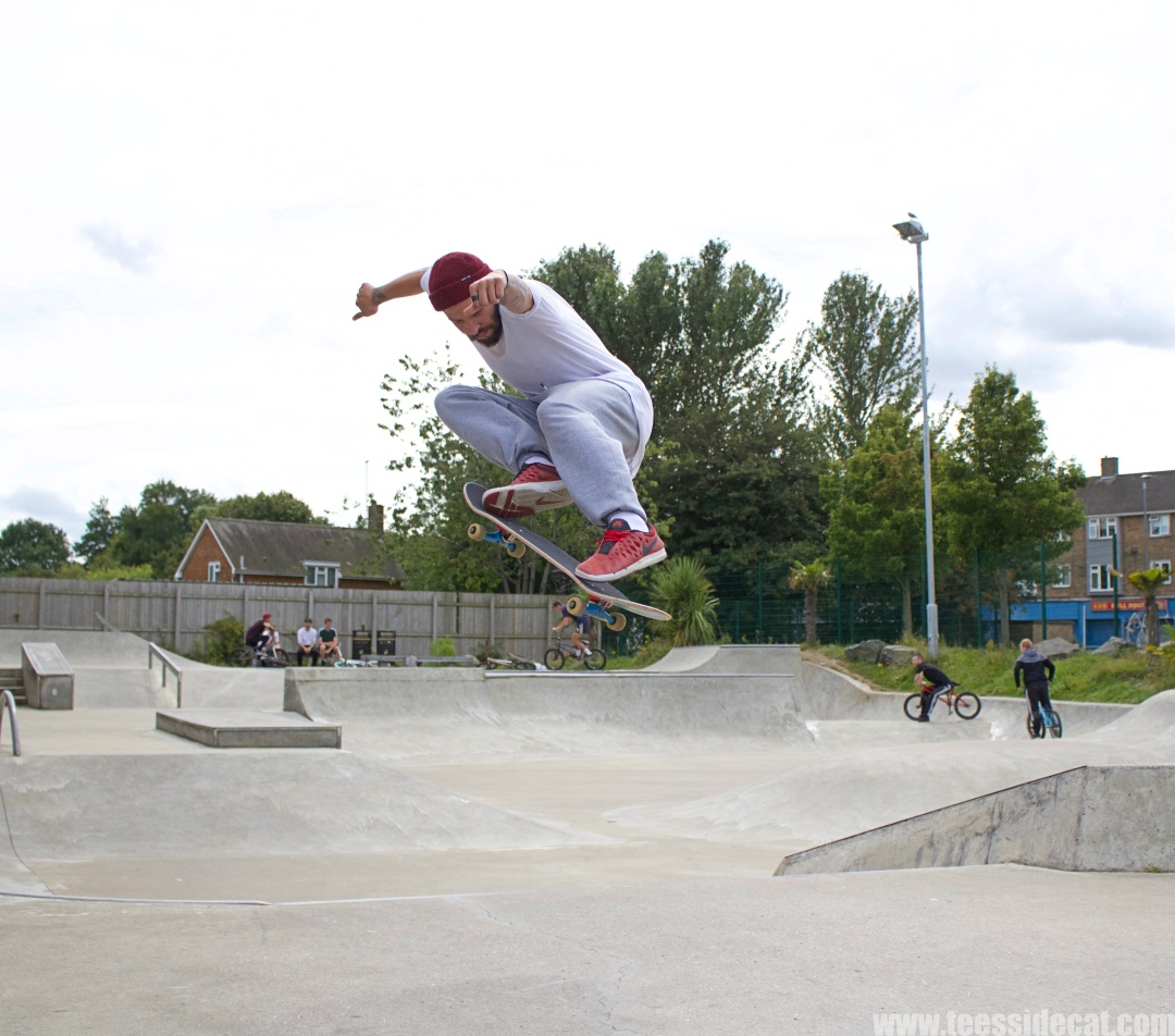 Olly Stoker performing an 'ollie'