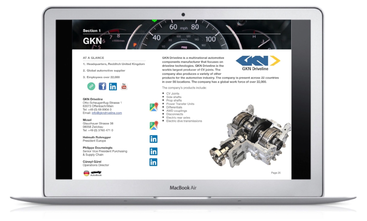 The Germany AutoBook includes company profiles of OEM car makers, Multinationals and German automotive parts suppliers as well as organizations, media and exhibitions.