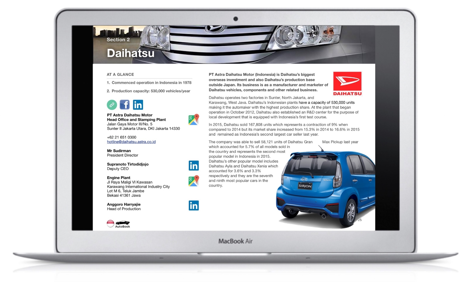 The Indonesia AutoBook includes company profiles of OEM car makers, Multinationals and Indonesian automotive parts suppliers as well as organizations, media and exhibitions.