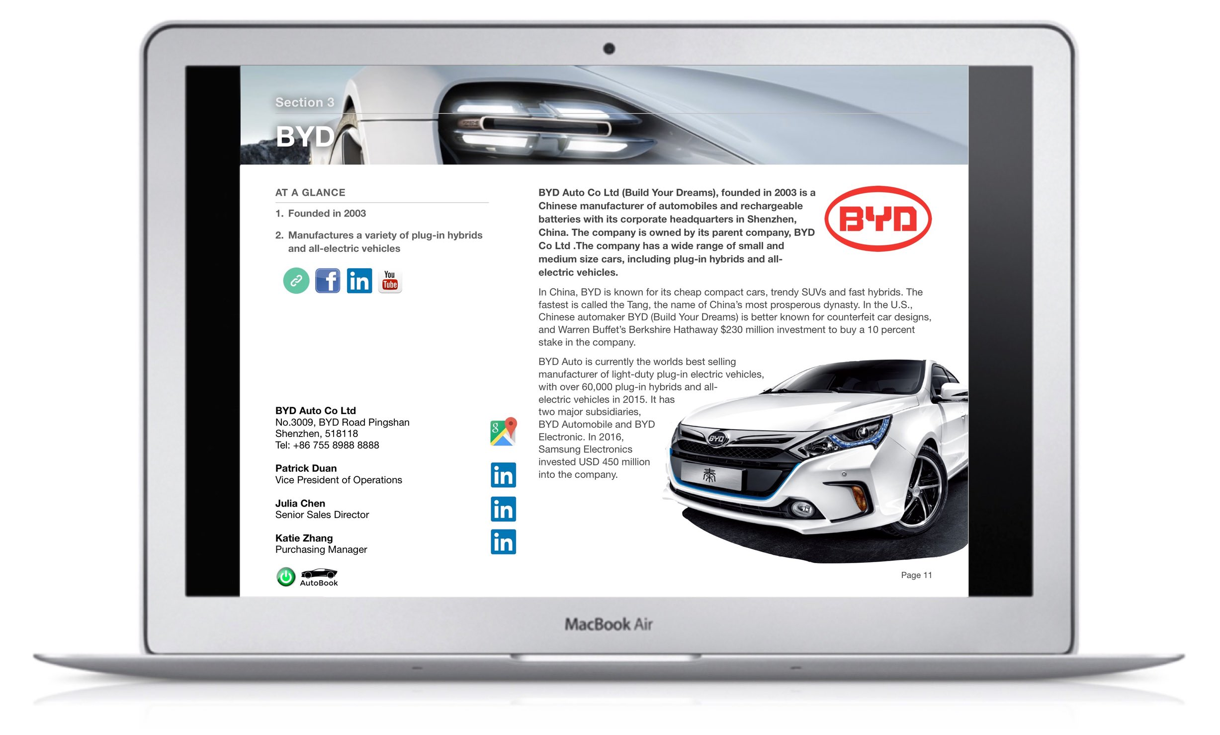 The EV & AV AutoBook includes company profiles of OEM car makers, multinational automotive parts suppliers as well as organizations, media and exhibitions.