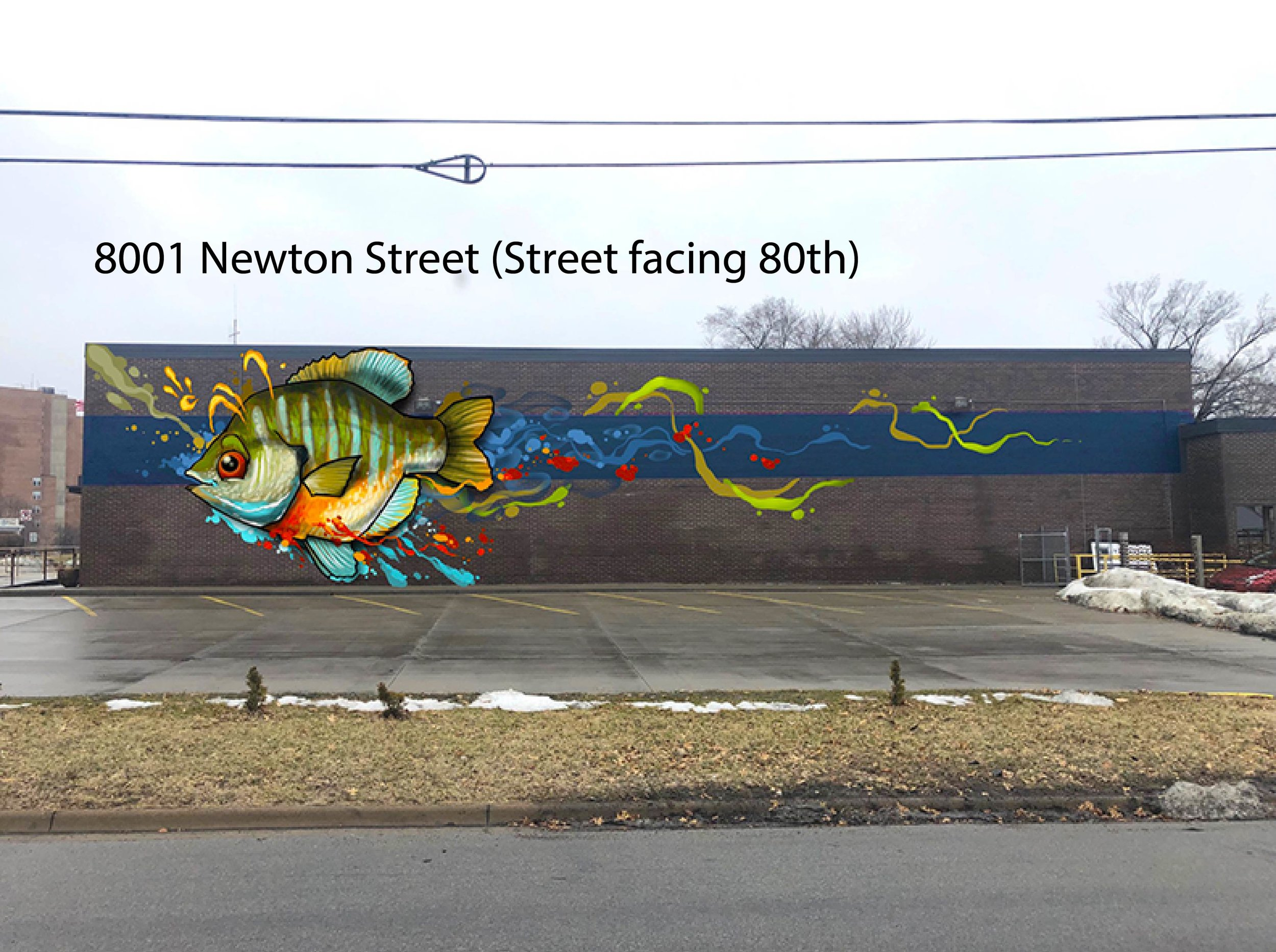 The proposed mural on the side of InterUrban ArtHouse at the corner of 80th/Conser depicts a colorful Bluegill fish which is one of the most common fish in the state of Kansas!