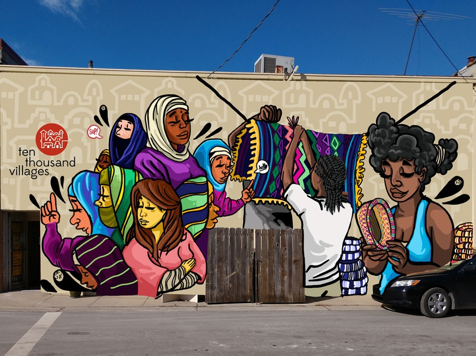 "The proposed mural by JT Daniels is located behind 10,000 Villages store. They are a fair trade business and sell fair trade crafts from Asia, Africa, Latin America and the Middle East. From JT, ""My design does showcase women from varied cultures, a few of which are represented heavily within the store that fosters fair trade items from these countries, where the money provides for their families & etc.""   Partial funding for this mural is provided by the children of Jeanne Stephens Lee Blackmar in memory of her outstanding service to women."