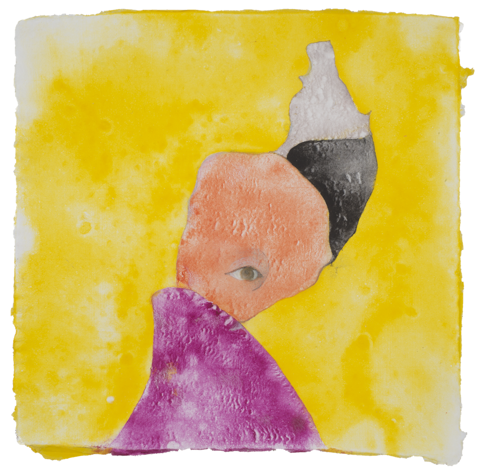 """Piero Project #1, colored pulp and handmade paper, 14"""" x 14"""", 2015"""