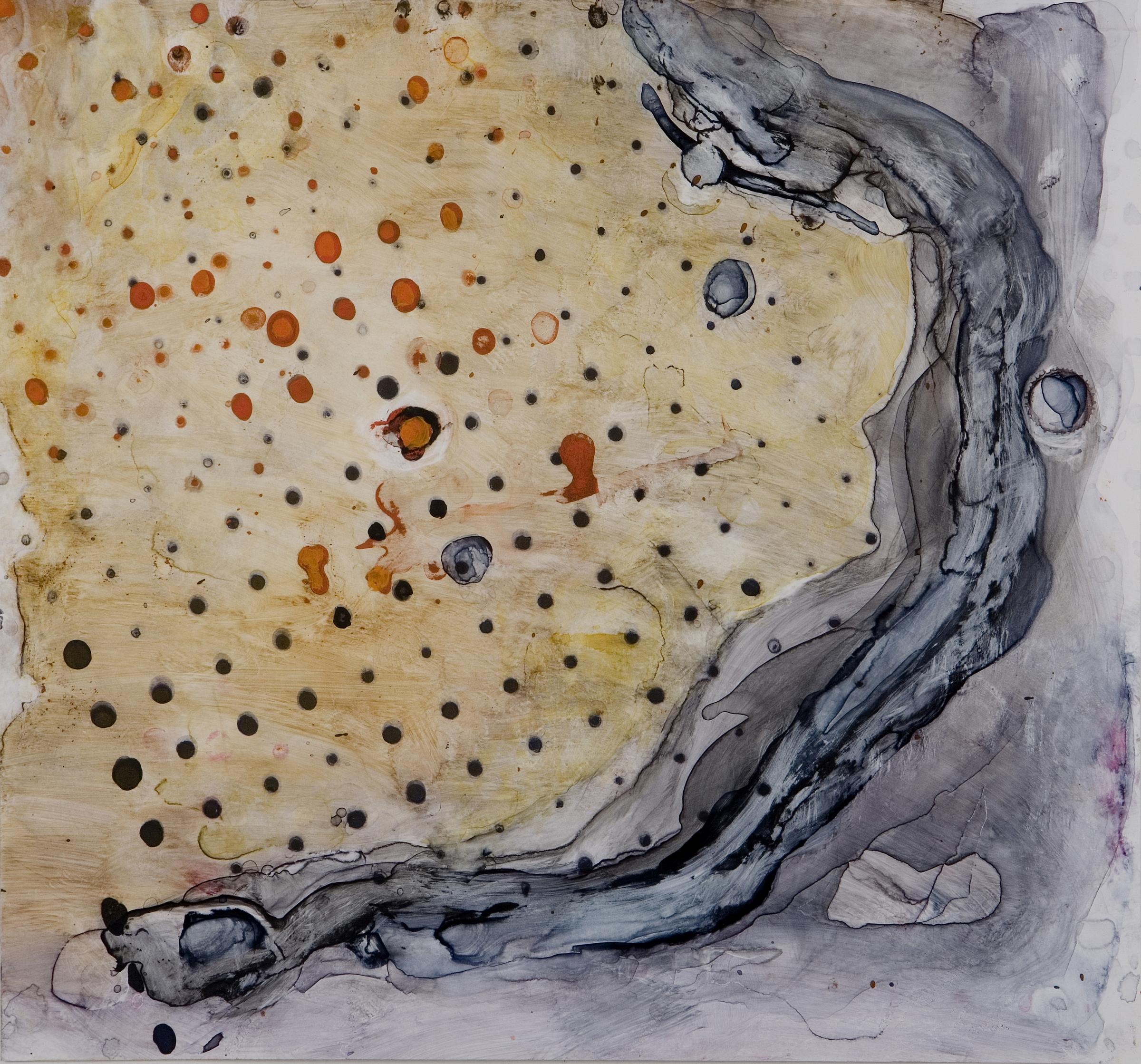 "Sanskriti Series #3, watercolor and casein, 12"" x 13"", 2007"