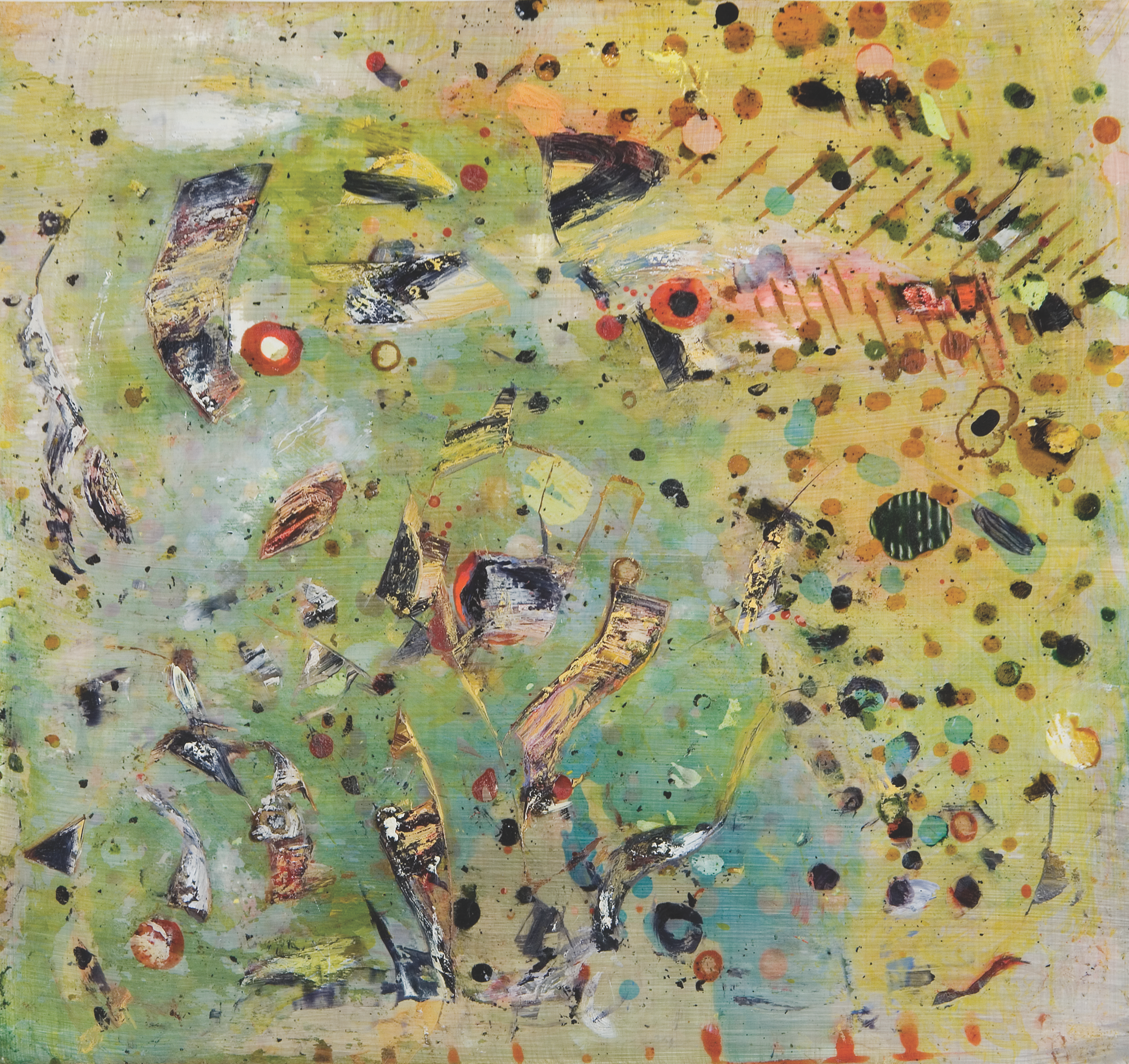 "Yellow-green Shift, shellac ink and oil on paper, 12"" x 13"", 2007"