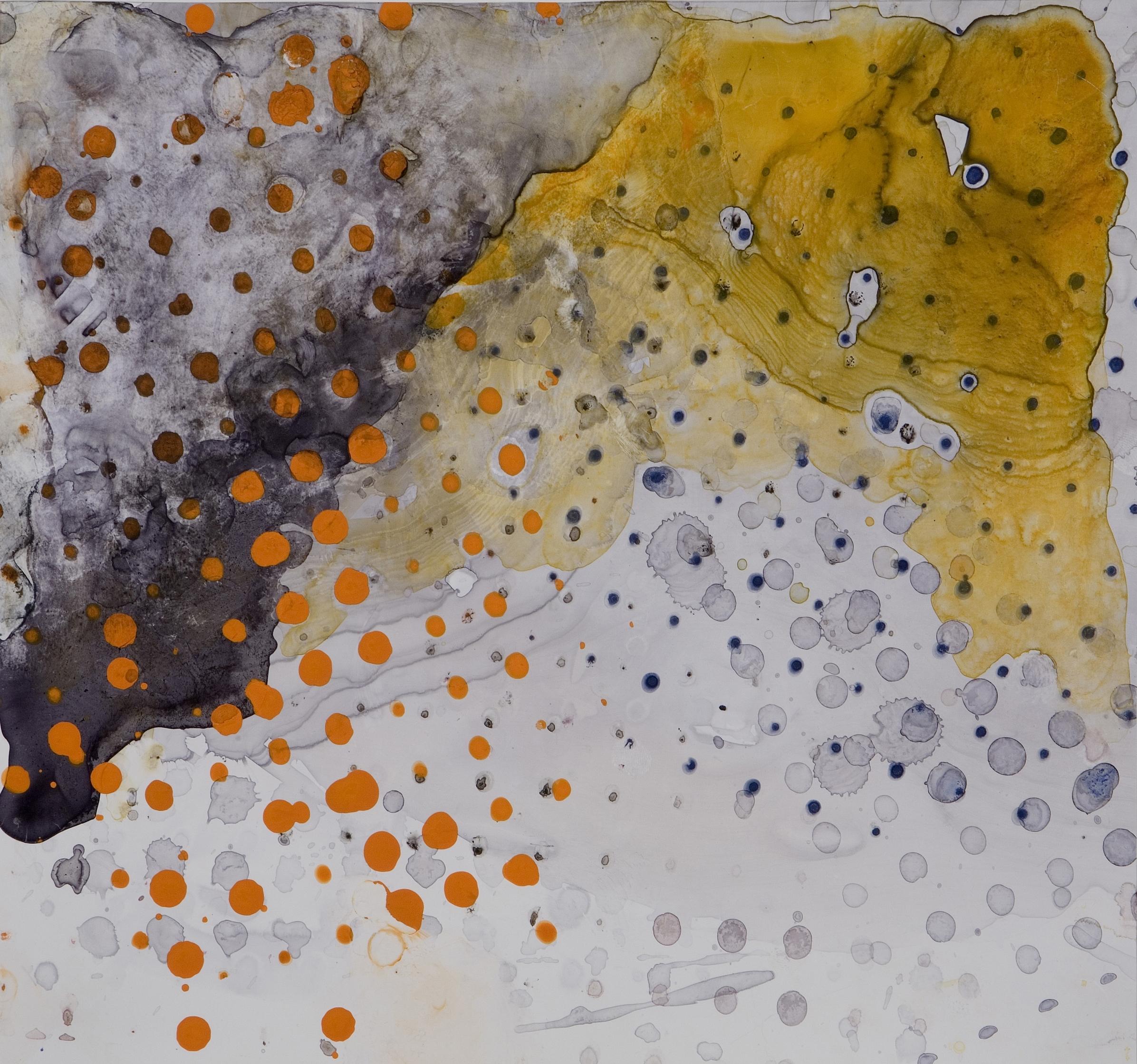 "Sanskriti Series #5, watercolor and casein, 12"" x 13"", 2007"