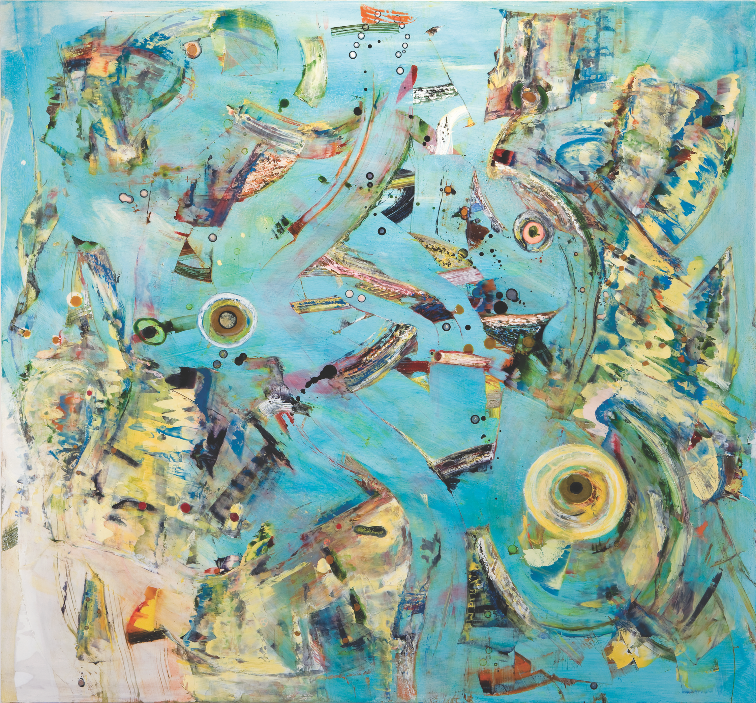 "The Circle Quickens, shellac ink and oil on wood panel, 37"" x 39 1/2"", 2008"