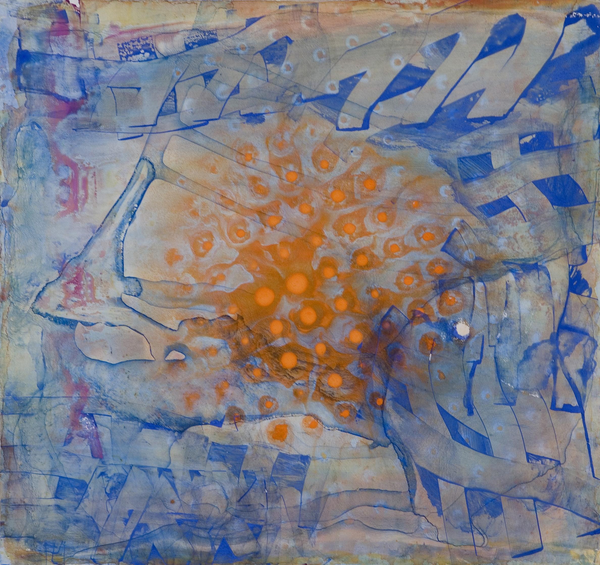"Sanskriti Series #7, watercolor and casein, 12"" x 13"", 2006"