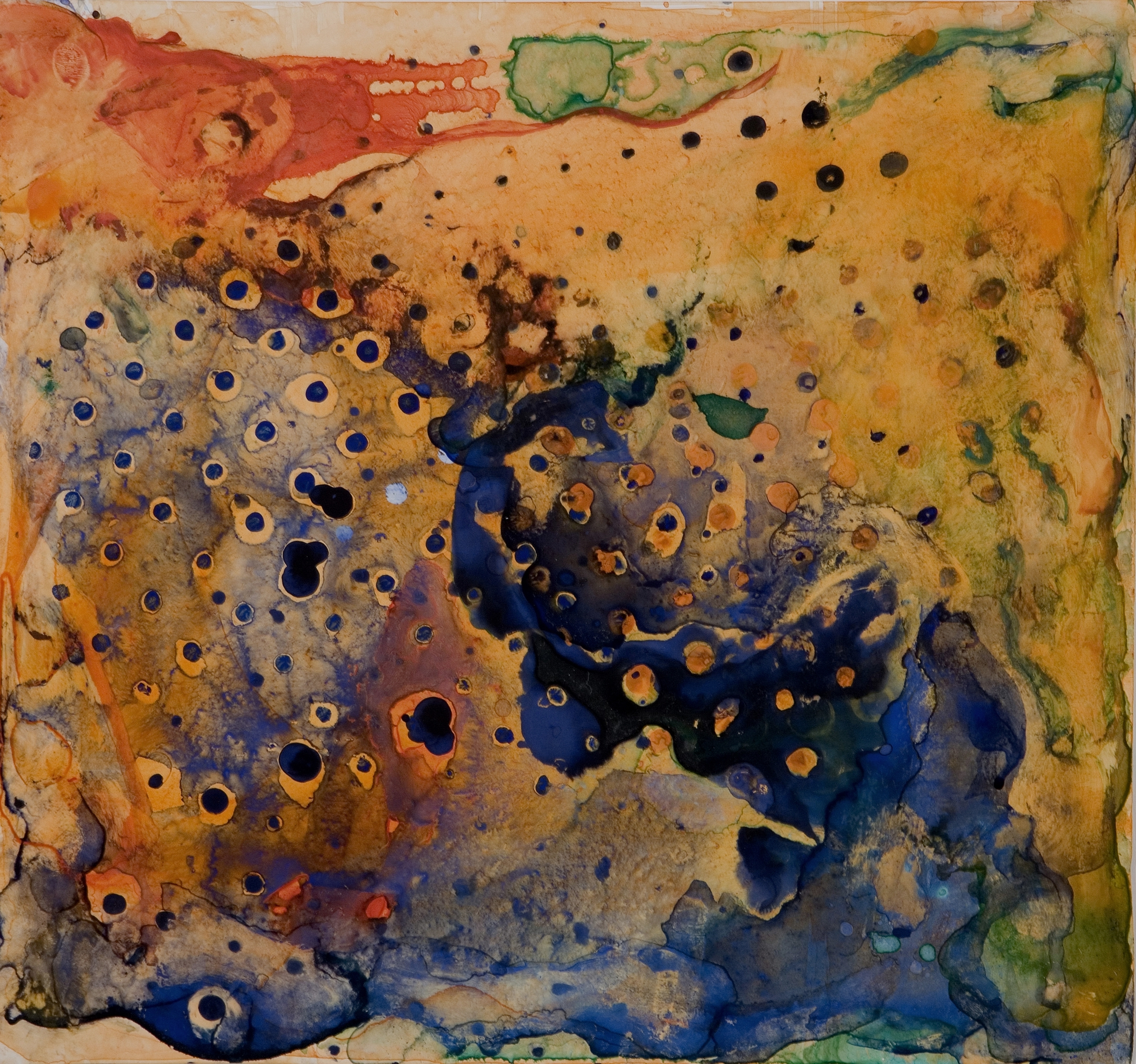 "Sanskriti Series #4, watercolor and casein, 12"" x 13"", 2006"