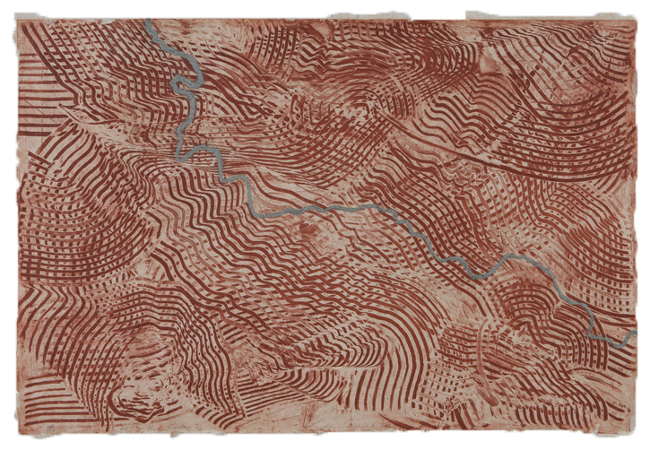 "Alternate Routes I, etching & sugarlift, 24"" x 36"", 2001"