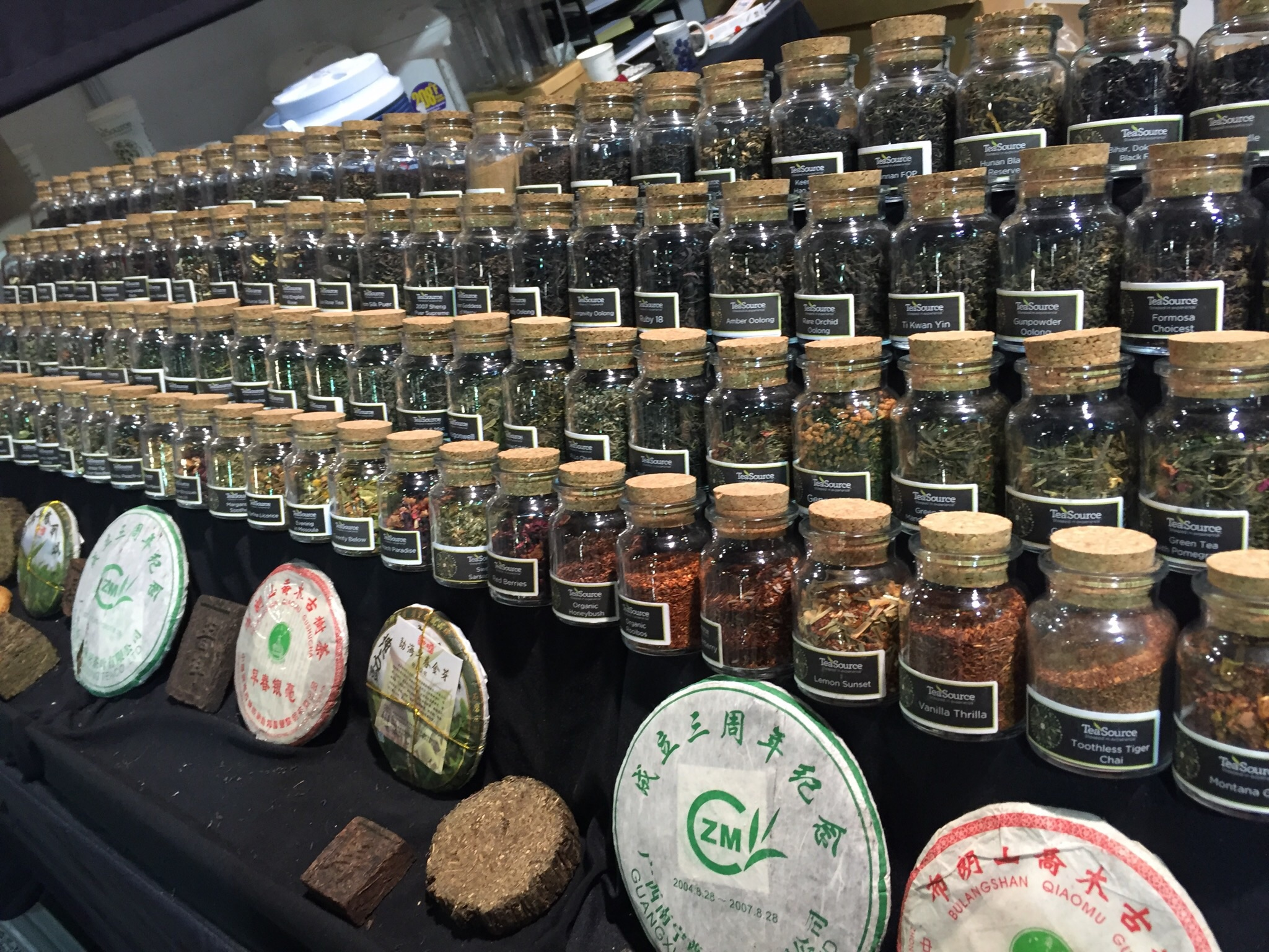 A sampling of Pu'ers and teas available on the floor at WTE, 2016.