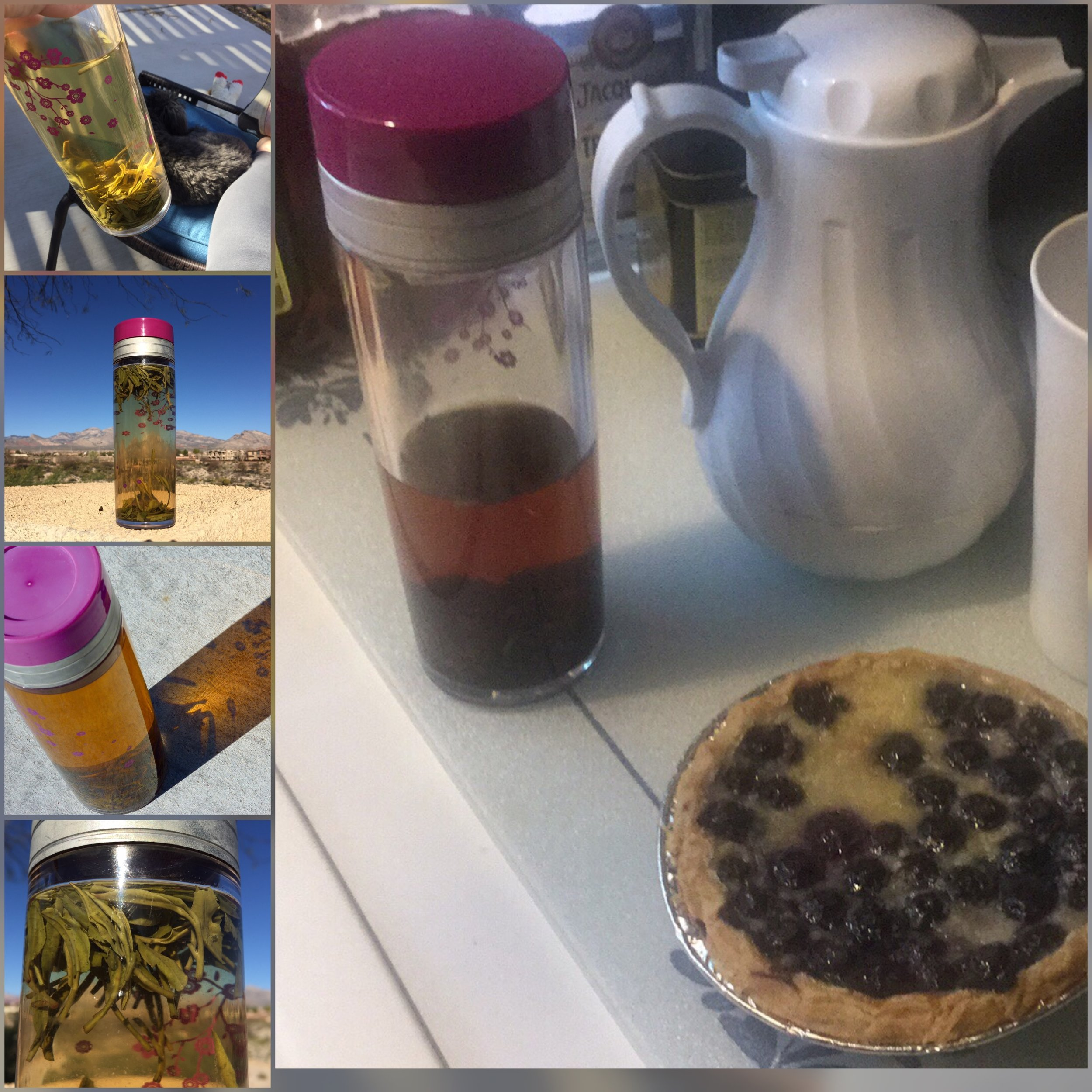 Grandpa Style works well in a Tea Traveler and a great accompaniment to Blueberry pie, the sun, and the desert.  Lifting my cup to your tea and your style,   The Tea And Hat Lady