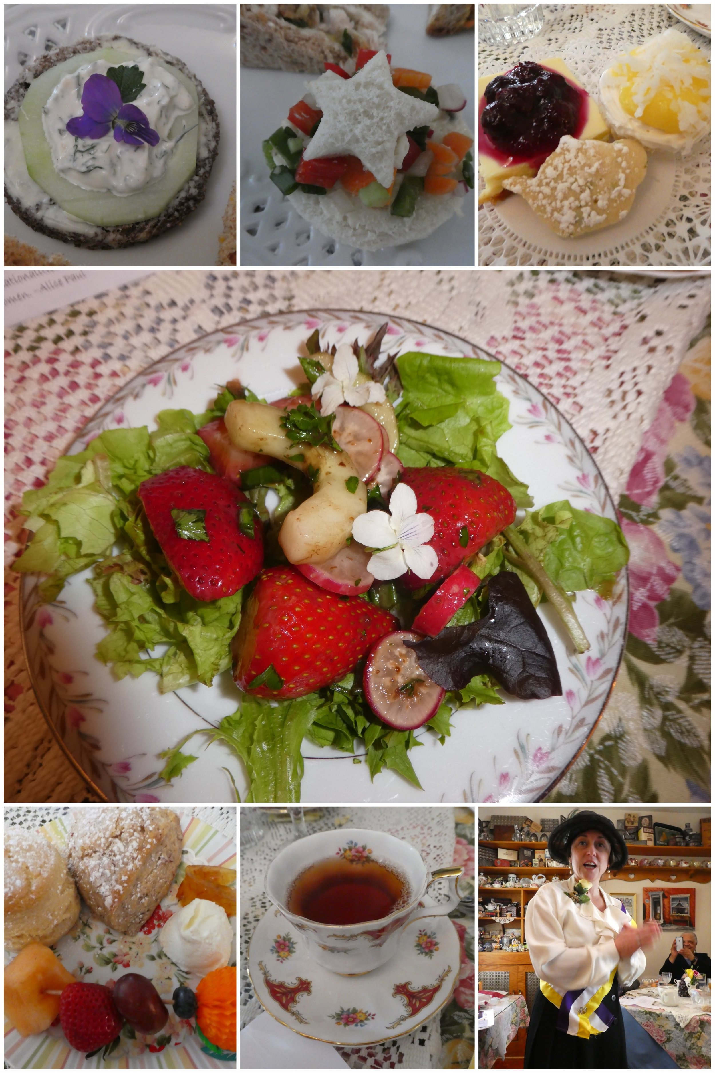 Yummy tea, scones, salad, and tea sandwiches were enjoyed by all. . . Even our honored Woman of History . . . Alice Paul