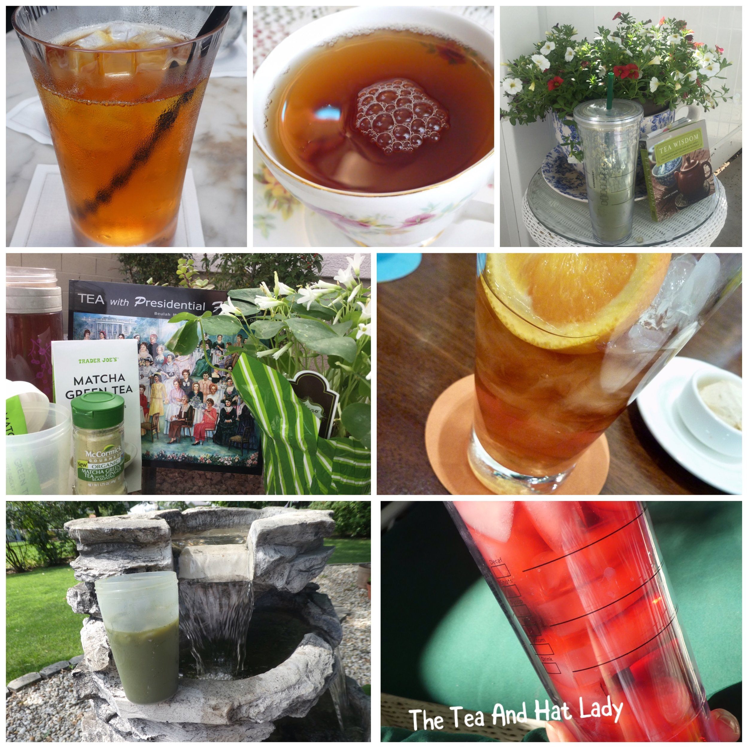 "Several of the many different iced teas I have enjoyed during my ""Read/Tea Time"" this summer."