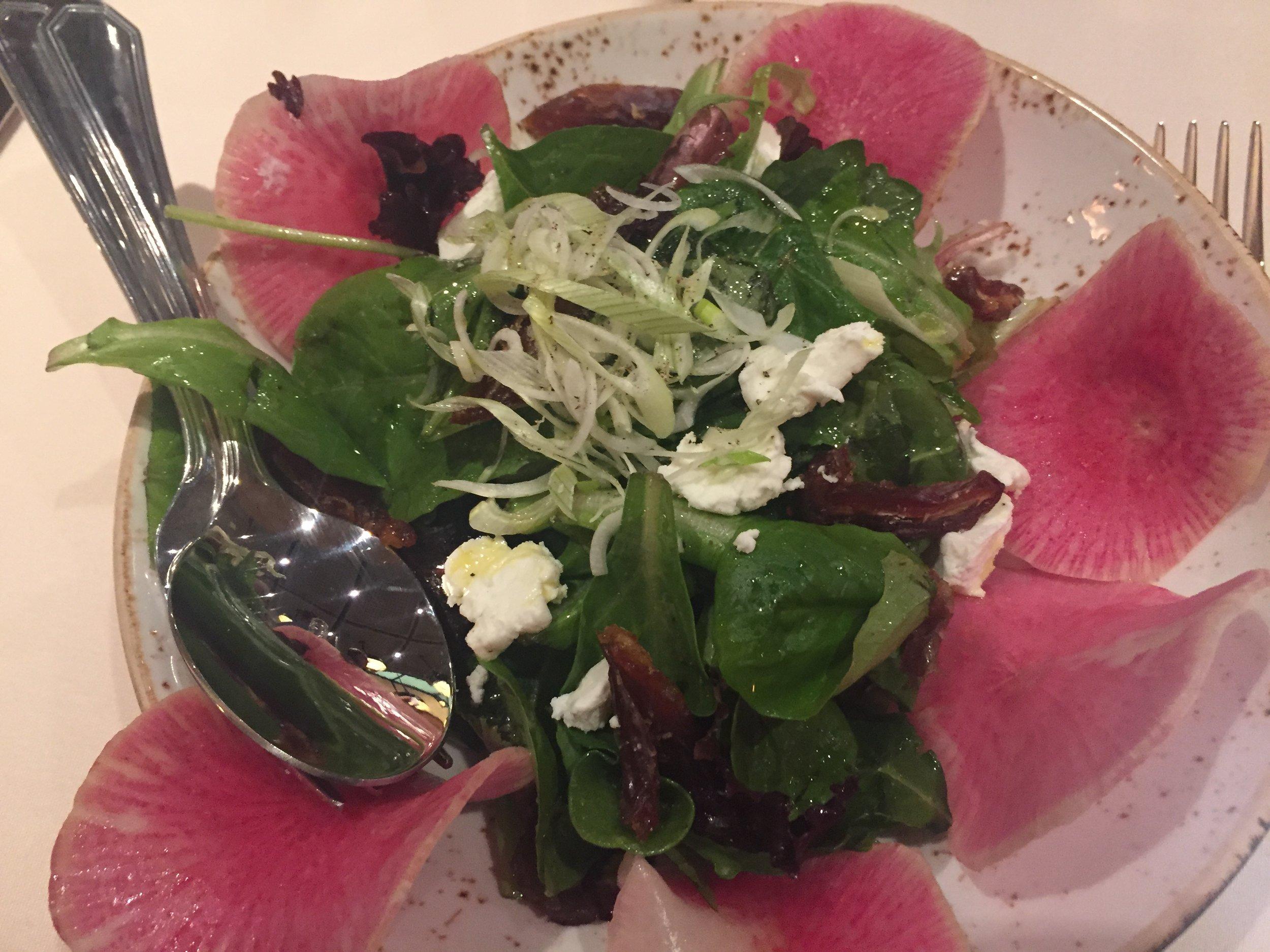 ortolana - field greens, watermelon radish, radicchio, dates, goat cheese, champagne vinaigrette