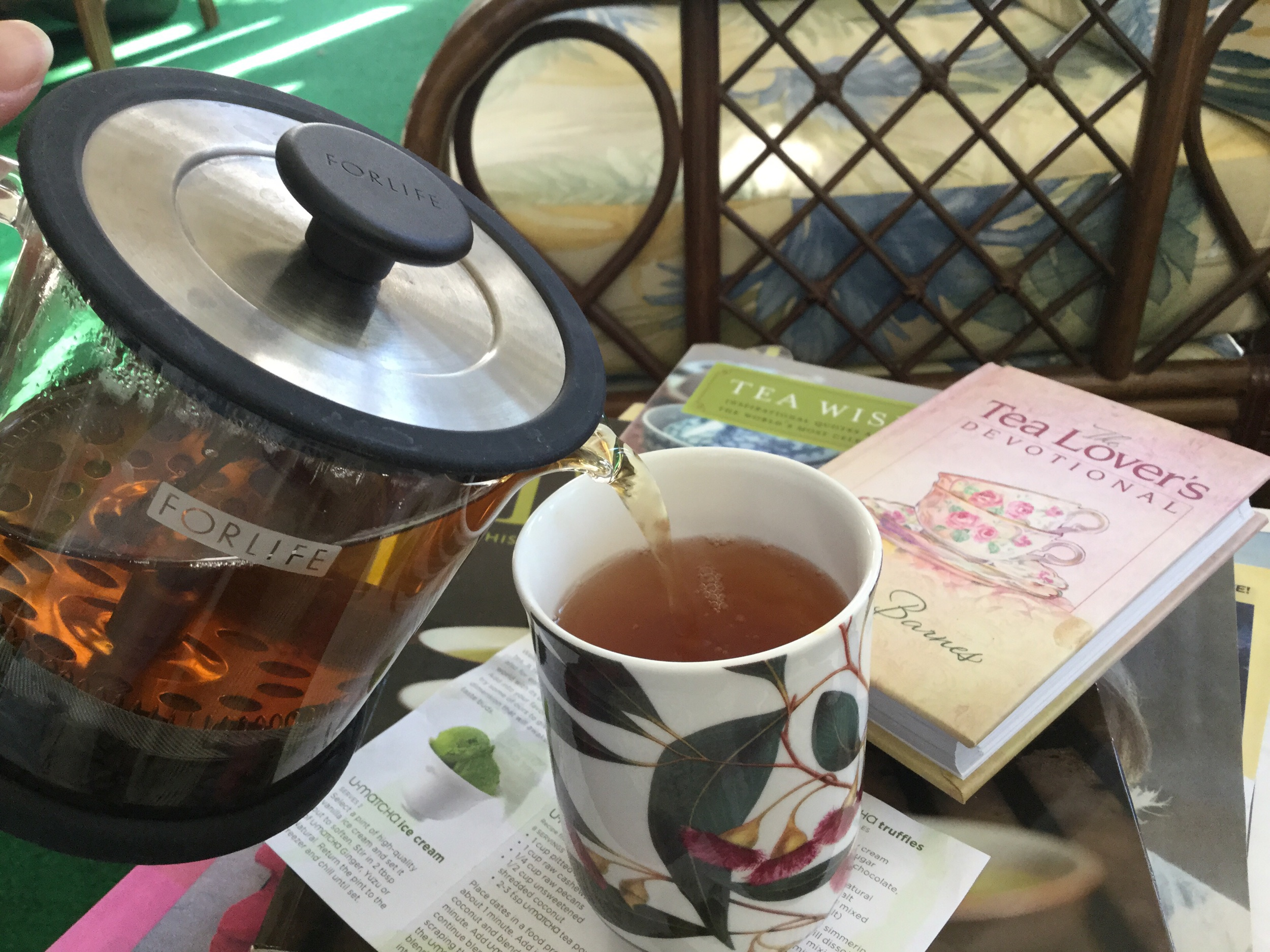 The making of a delightful cuppa tea. Necessary ingredients — quality tea, quality water at the appropriate temperature, steeped for the correct time.